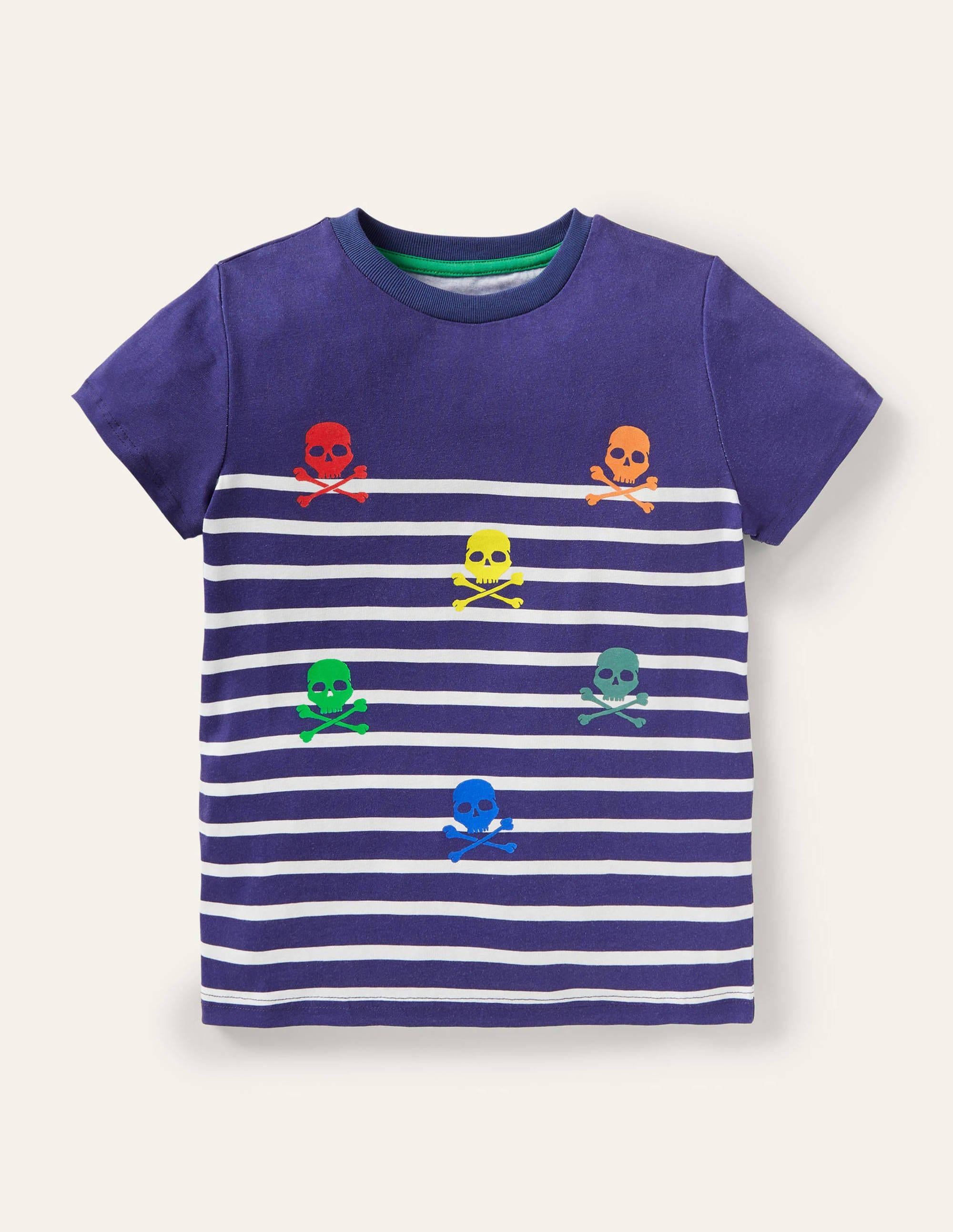 Boden Short-sleeved Breton T-shirt - College Navy/Ivory Skulls