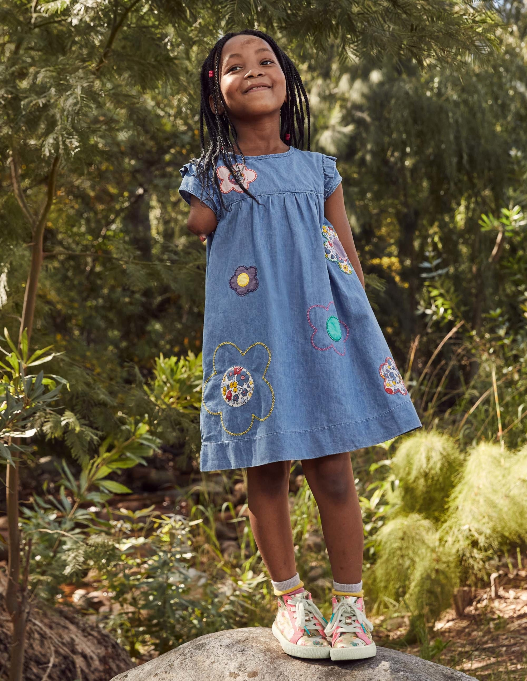 Boden Easy Everyday Dress - Chambray Blue Flowers