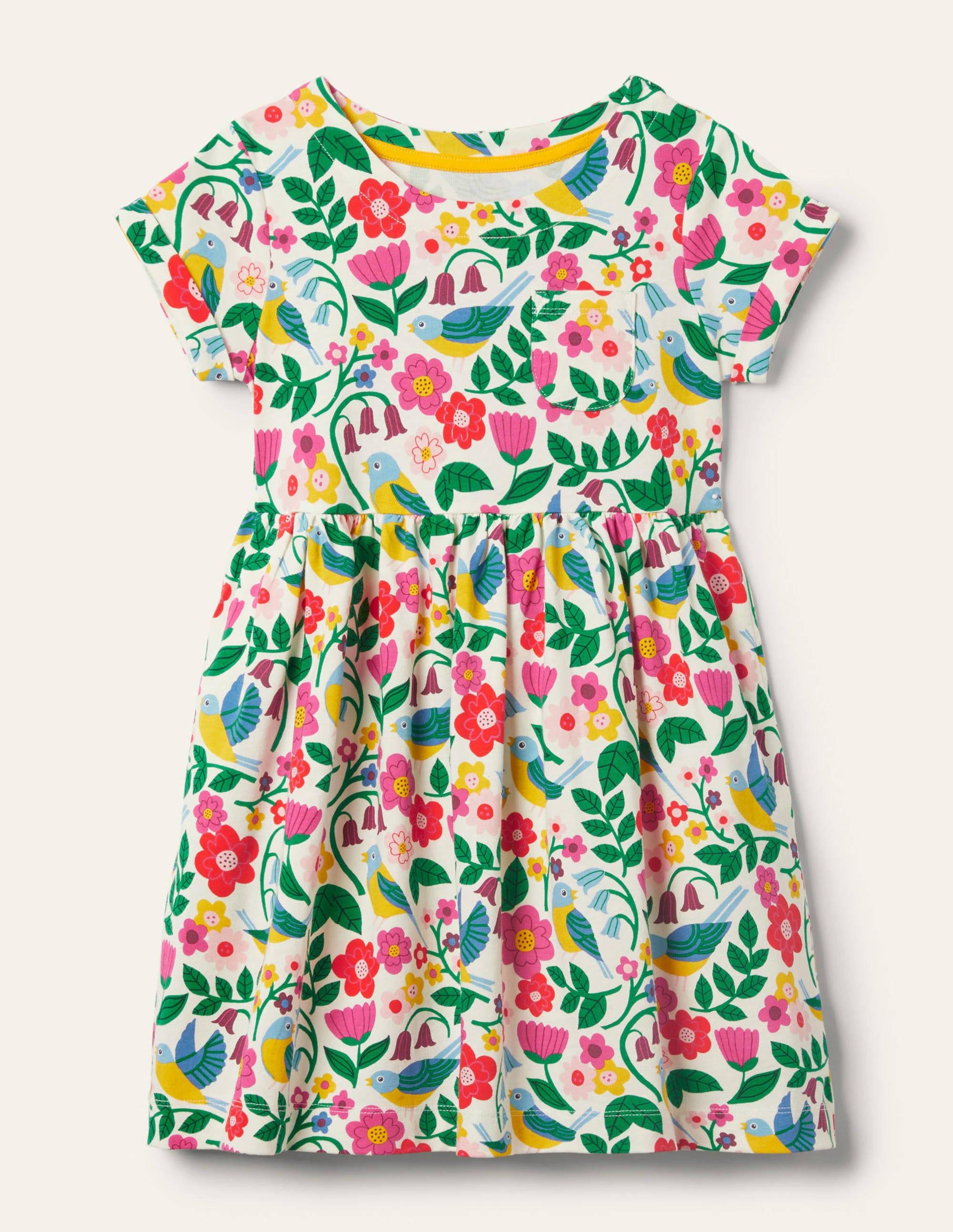 Boden Fun Jersey Dress - Multi Garden Birds