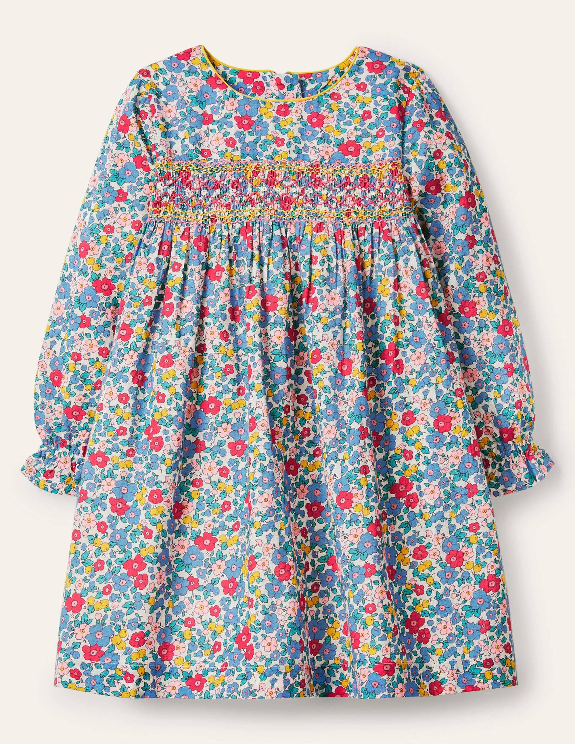 Boden Smocked Dress - Multi Apple Blossom Floral