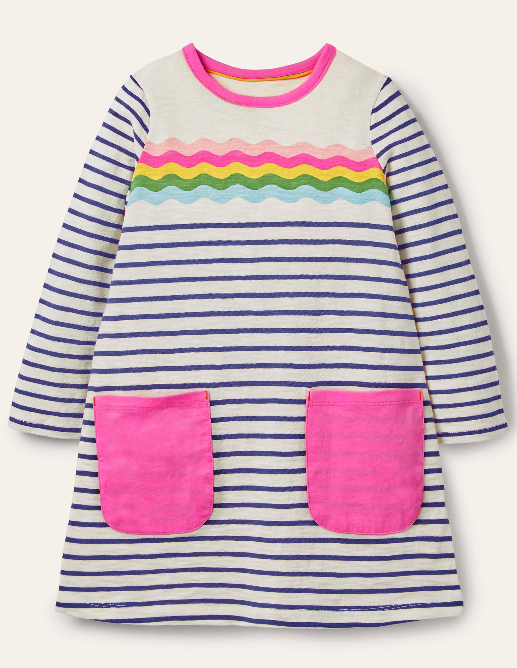 Boden Fun Pocket Jersey Dress - Ivory/Navy Rainbow Wave