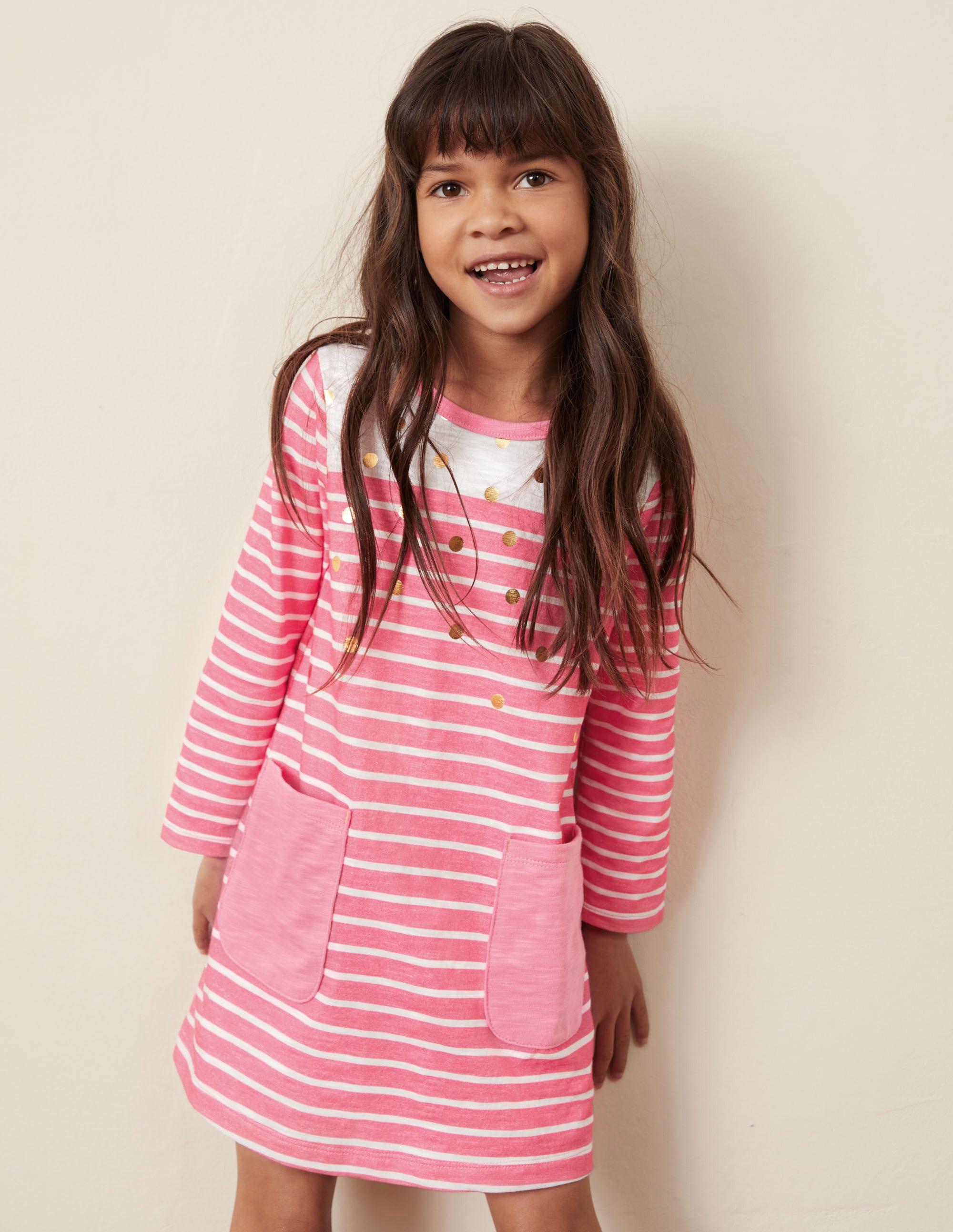 Boden Fun Pocket Jersey Dress - Pink Lemonade Gold Spot