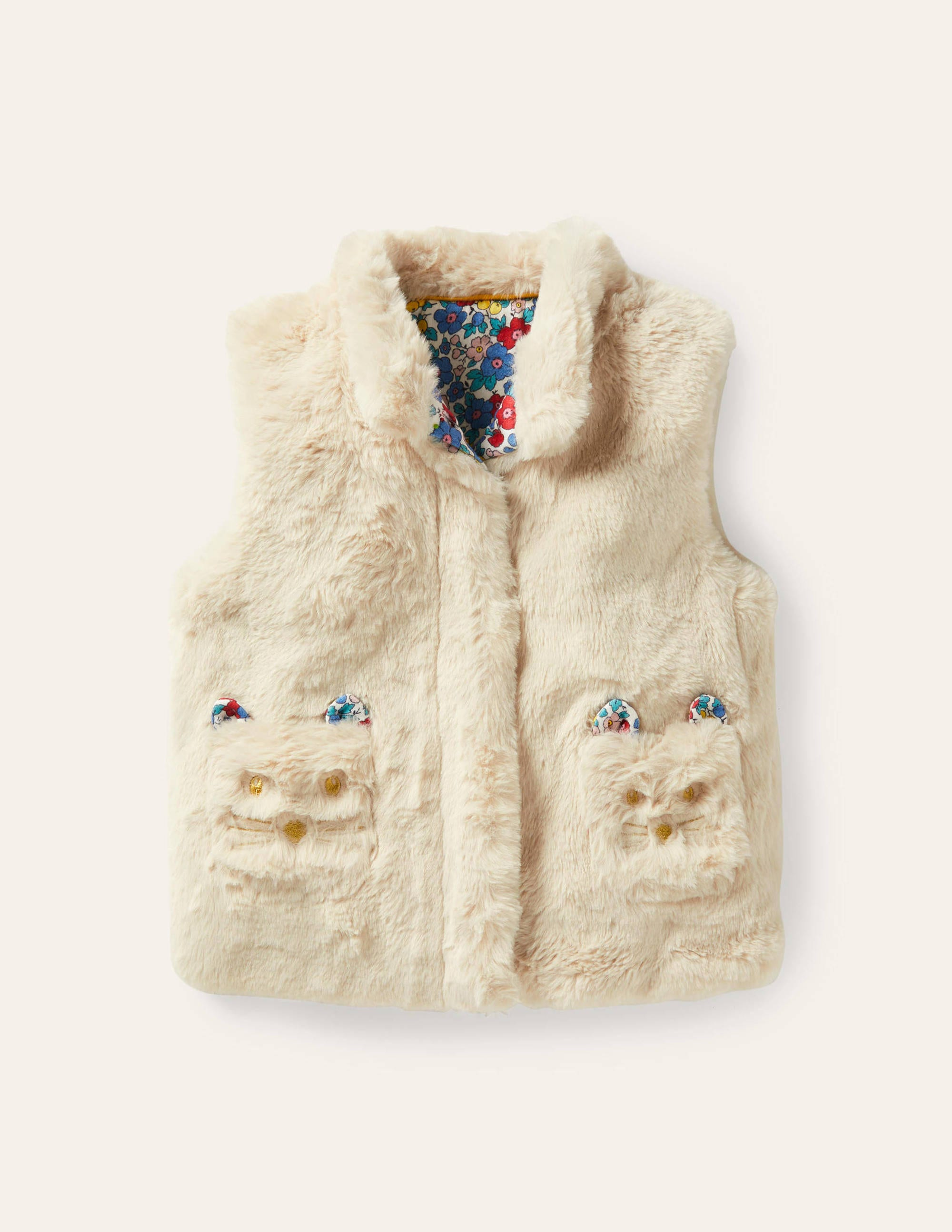 Boden Cat Pocket Faux Fur Vest - Oatmeal
