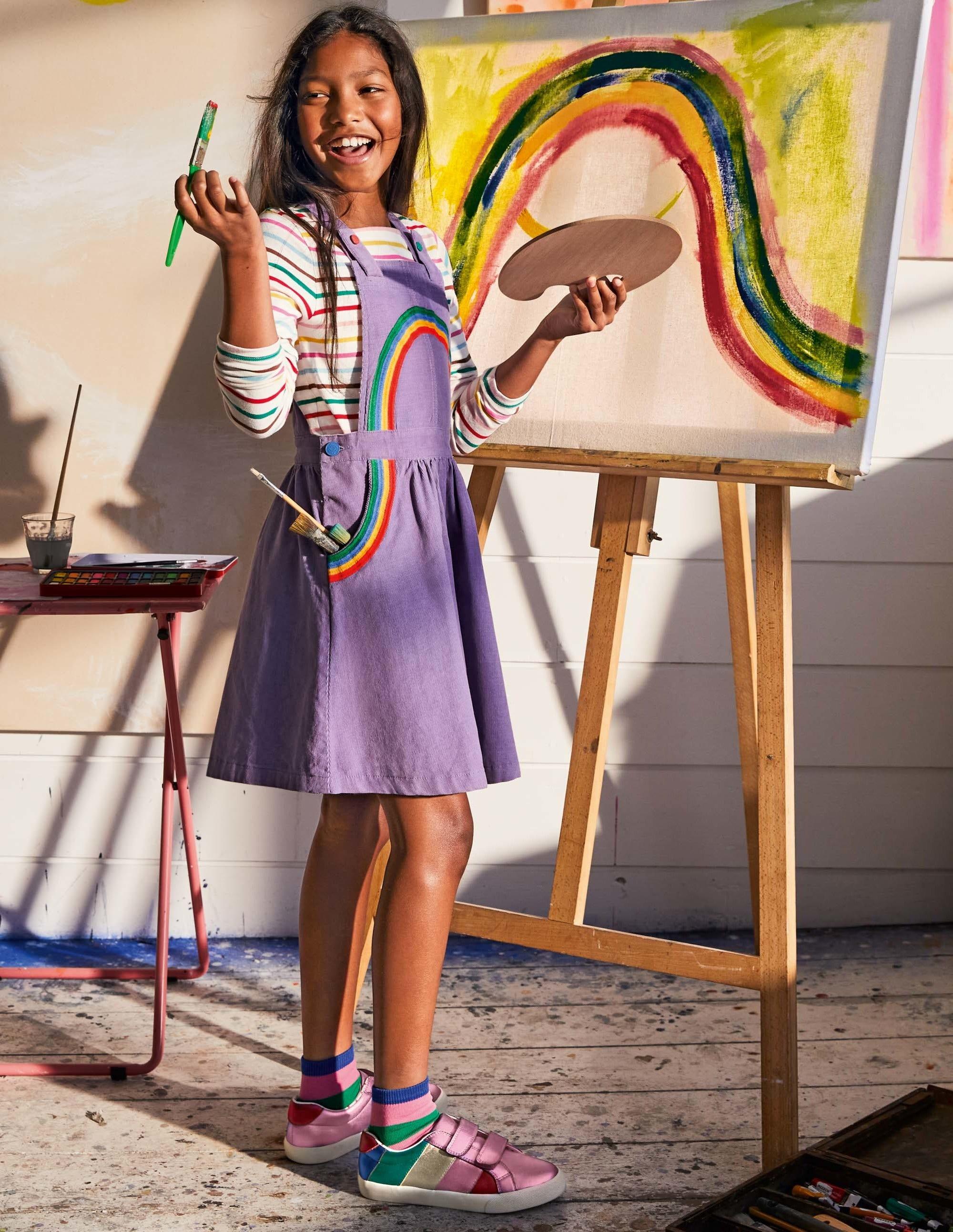 Boden Woven Pinafore Dress - Aster Purple Rainbow
