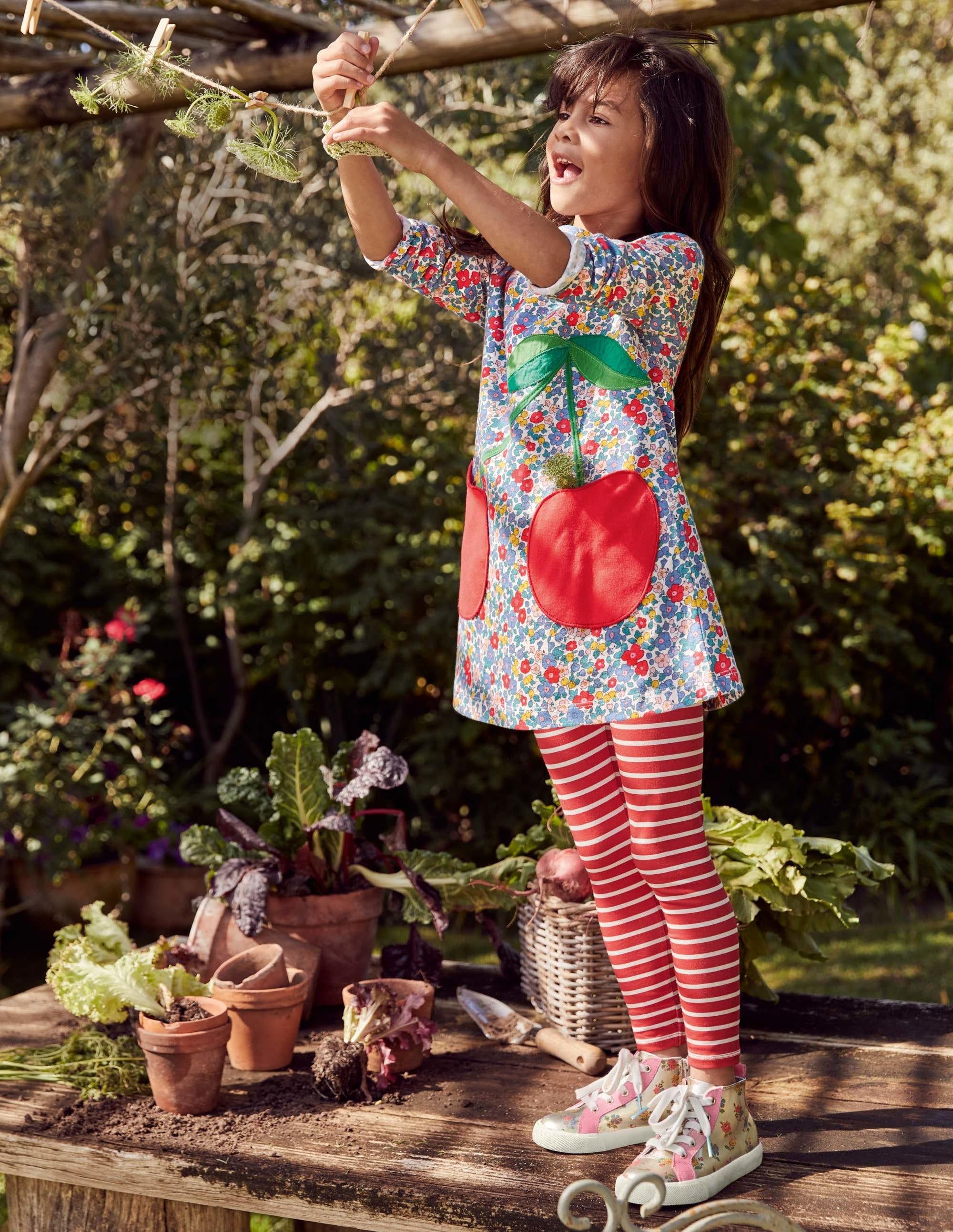 Boden Applique Pocket Tunic - Floral Blossom Cherries