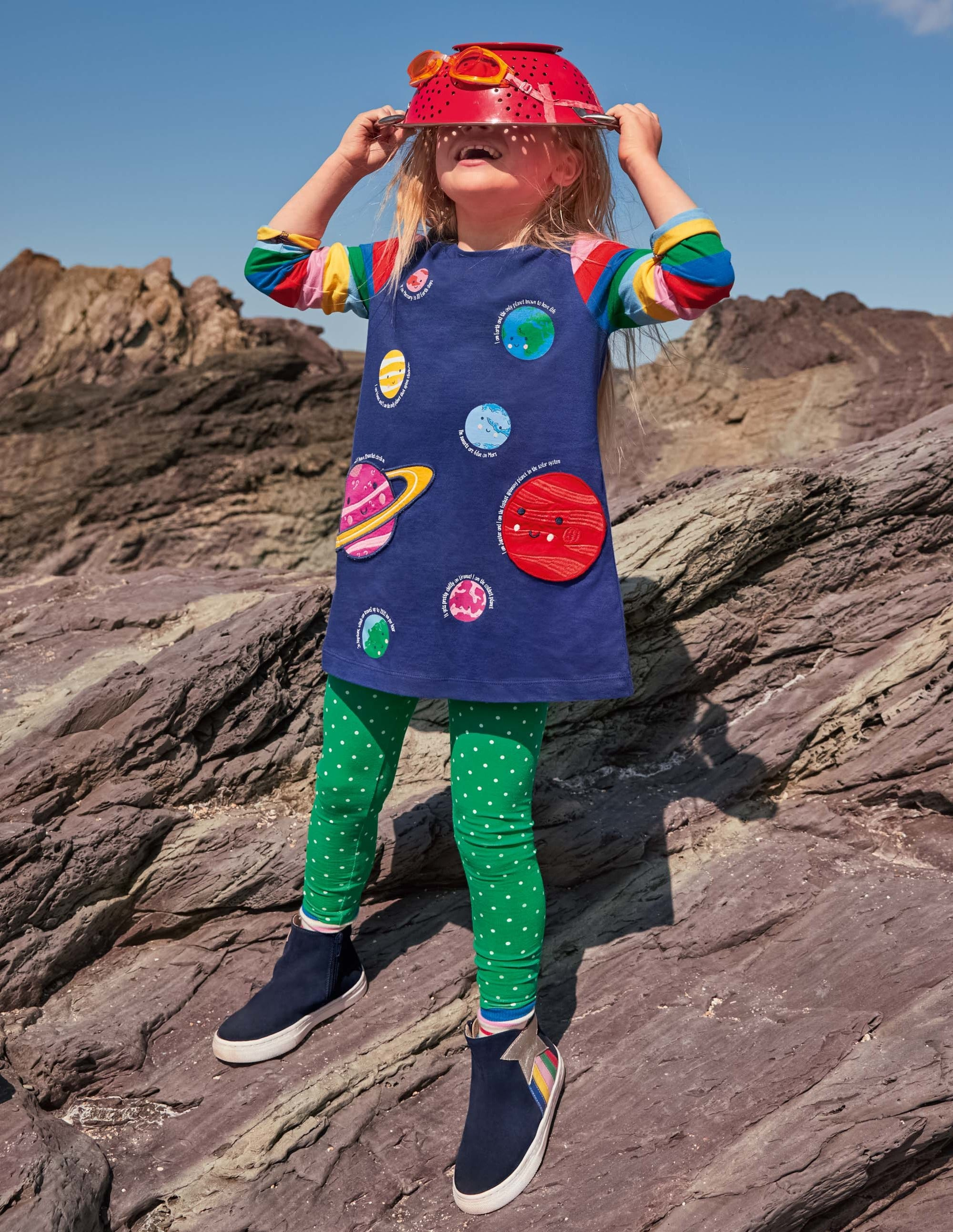 Boden Applique Pocket Tunic - Starboard Blue Planets