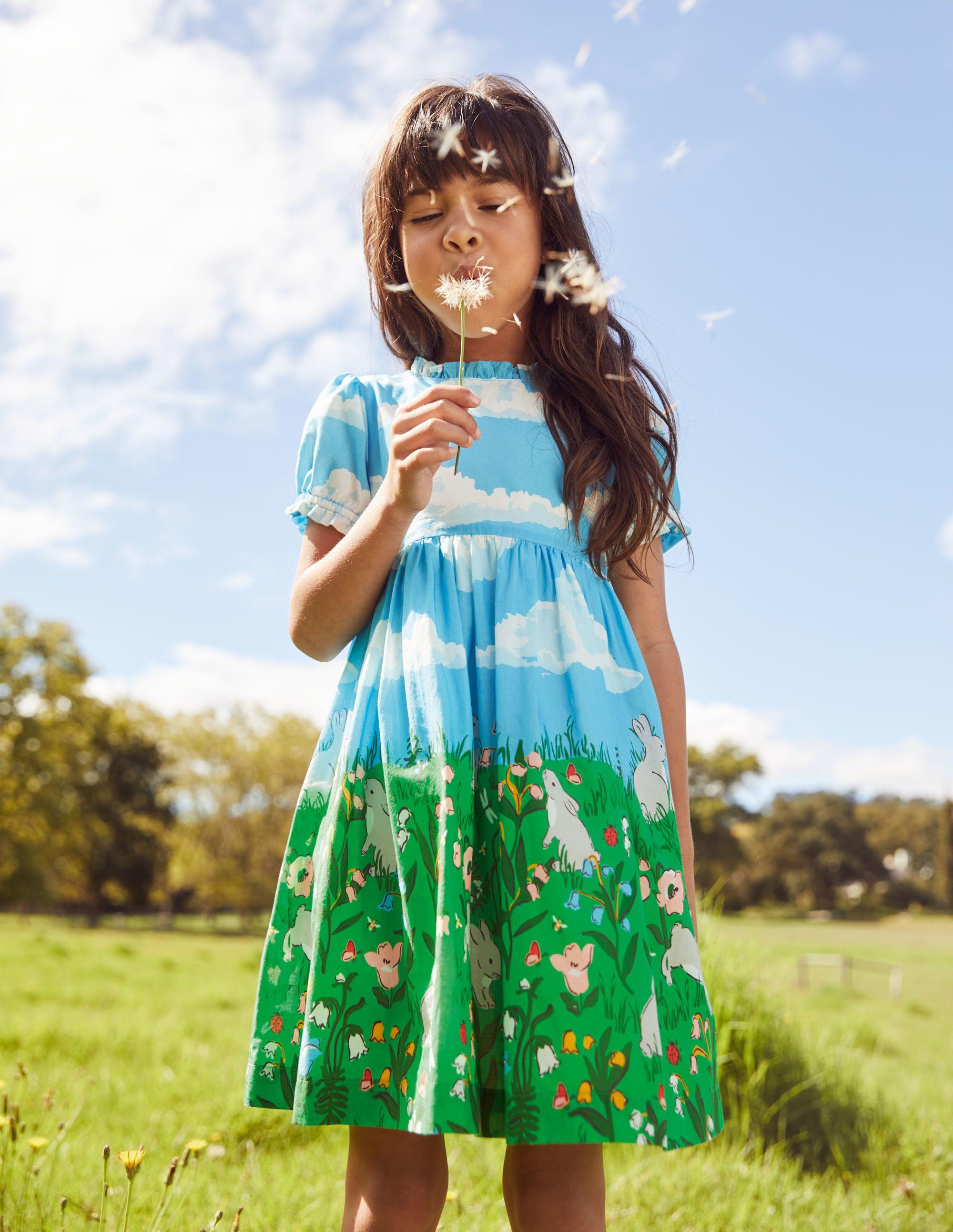 Boden Frill Neck Woven Dress - Multi Bunny Scene