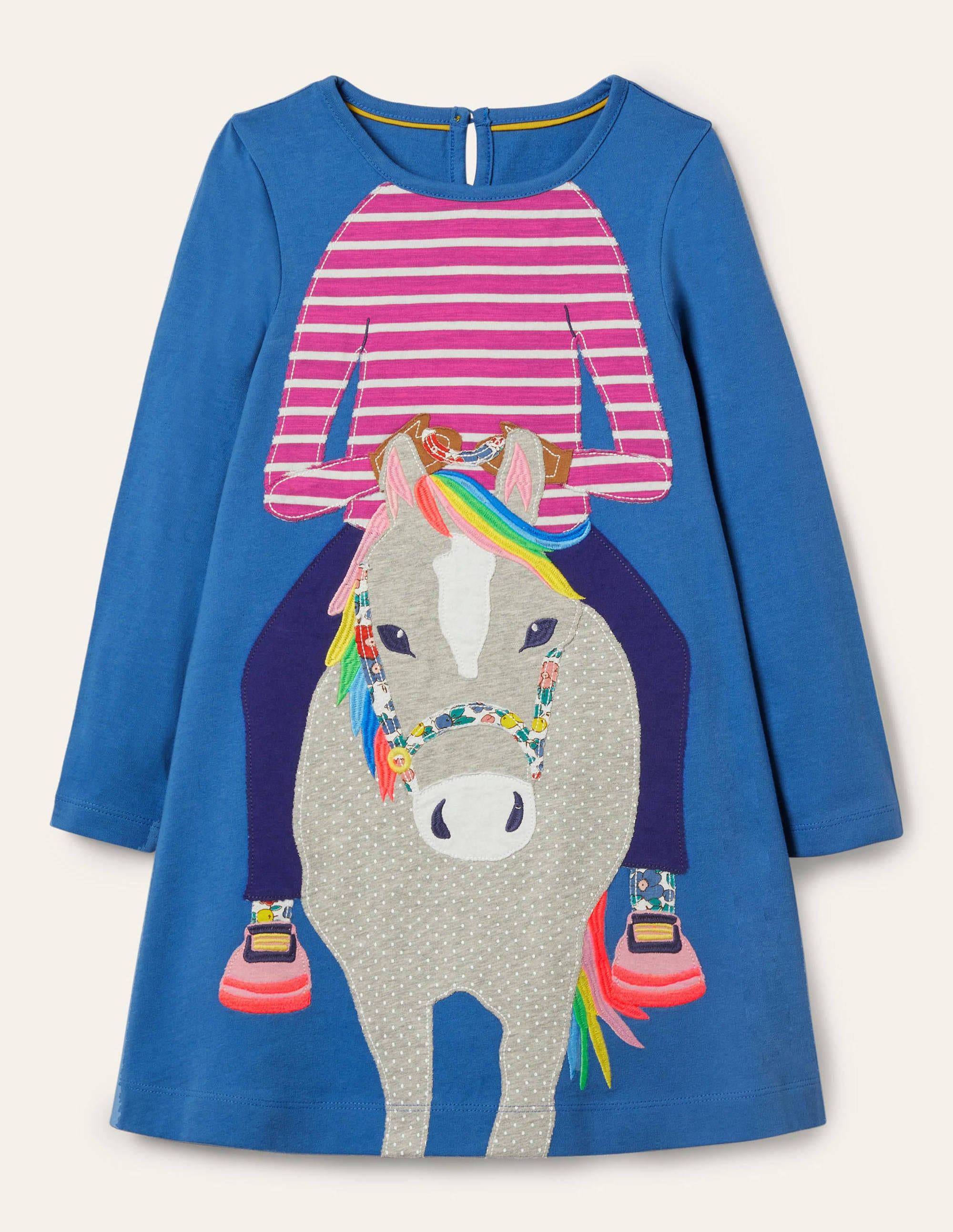 Boden Big Applique Jersey Dress - Elizabethan Blue Horse
