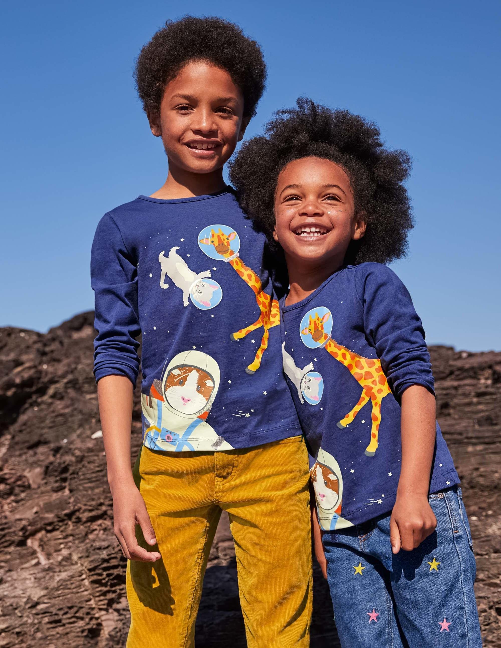 Boden Glow-in-the-dark Logo T-Shirt - Starboard Blue Space Animals