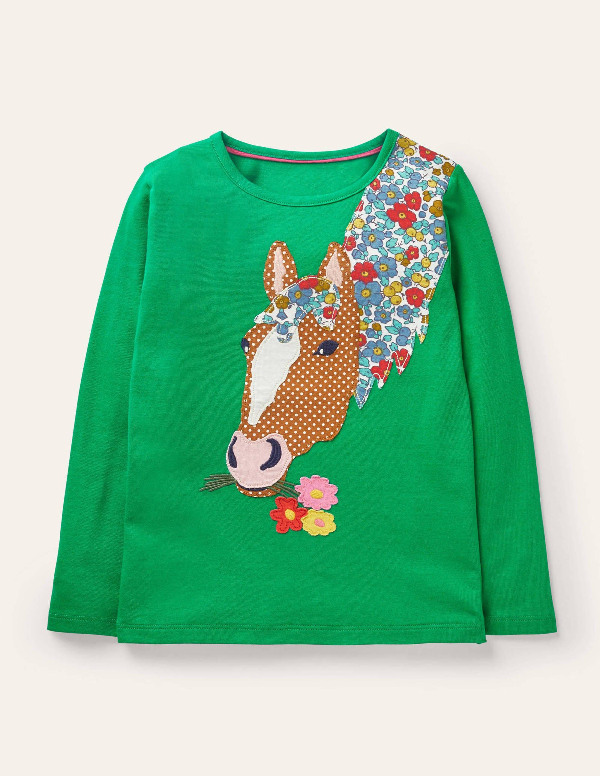 Boden Front & Back T-shirt - Green Pepper Horse