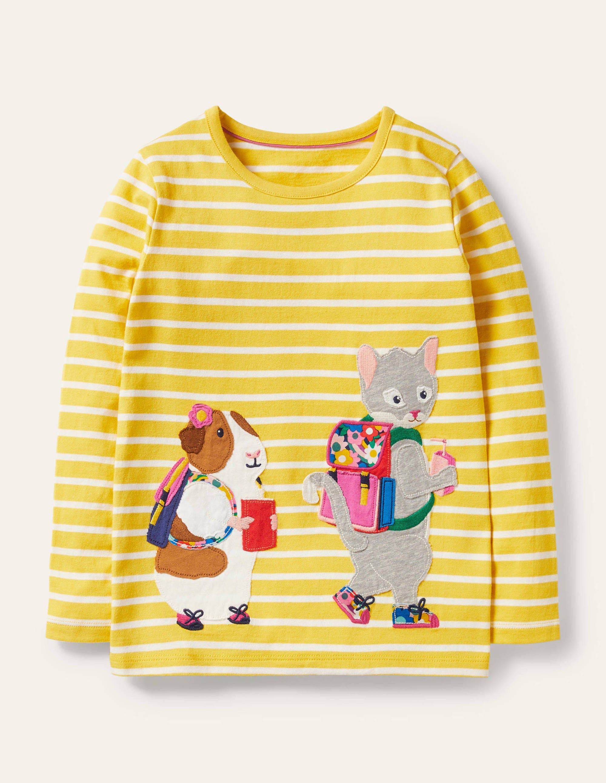 Boden Front & Back T-shirt - Yellow/ Ivory Animals