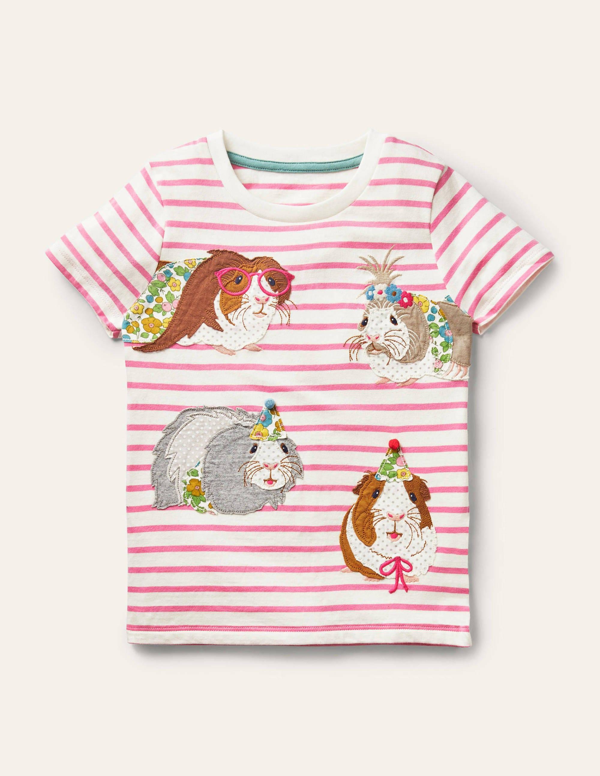 Boden Short-sleeve Applique T-shirt - Ivory/ Formica Pink Guinea Pig