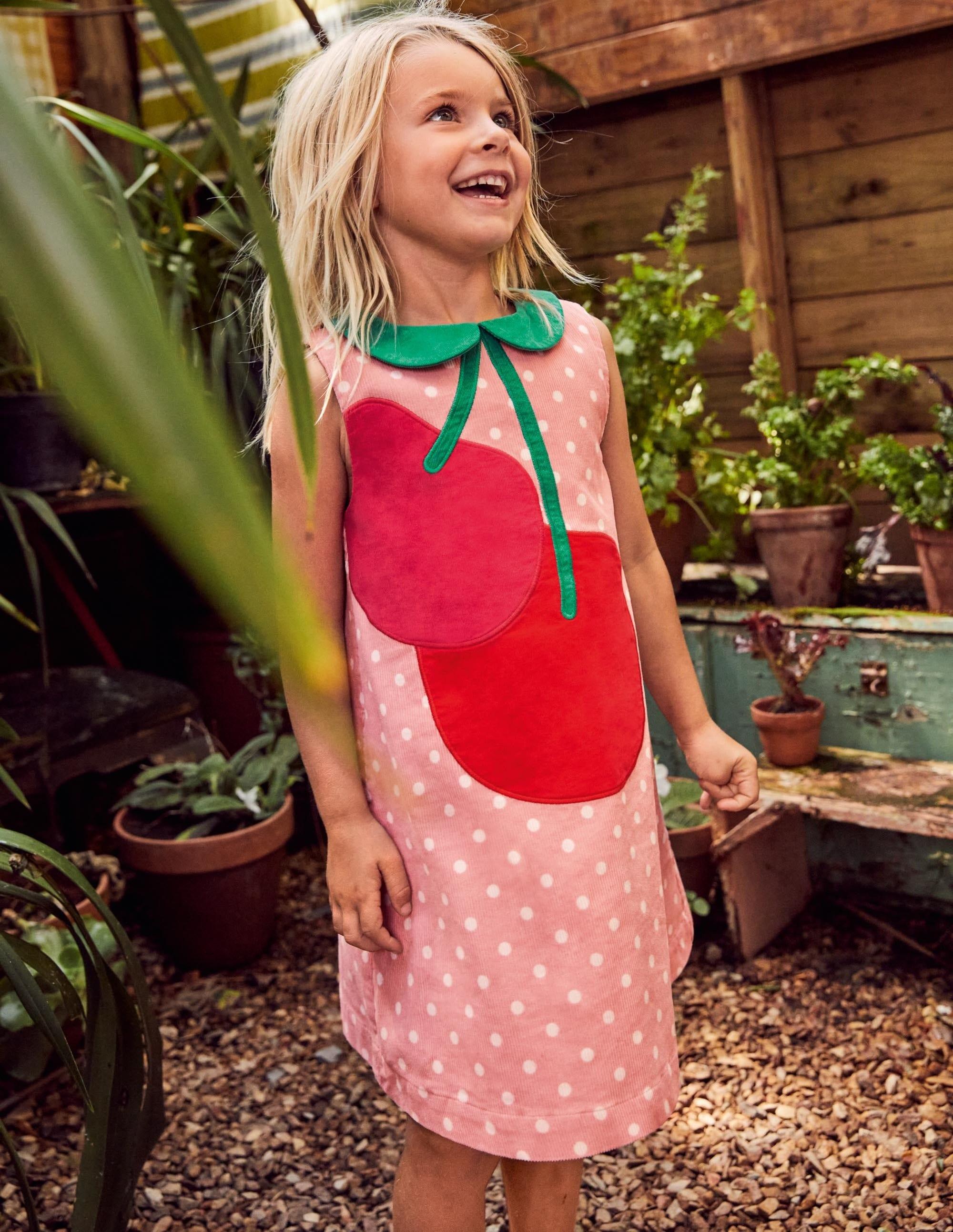 Boden Cord Applique Shift Dress - Boto Pink Cherry