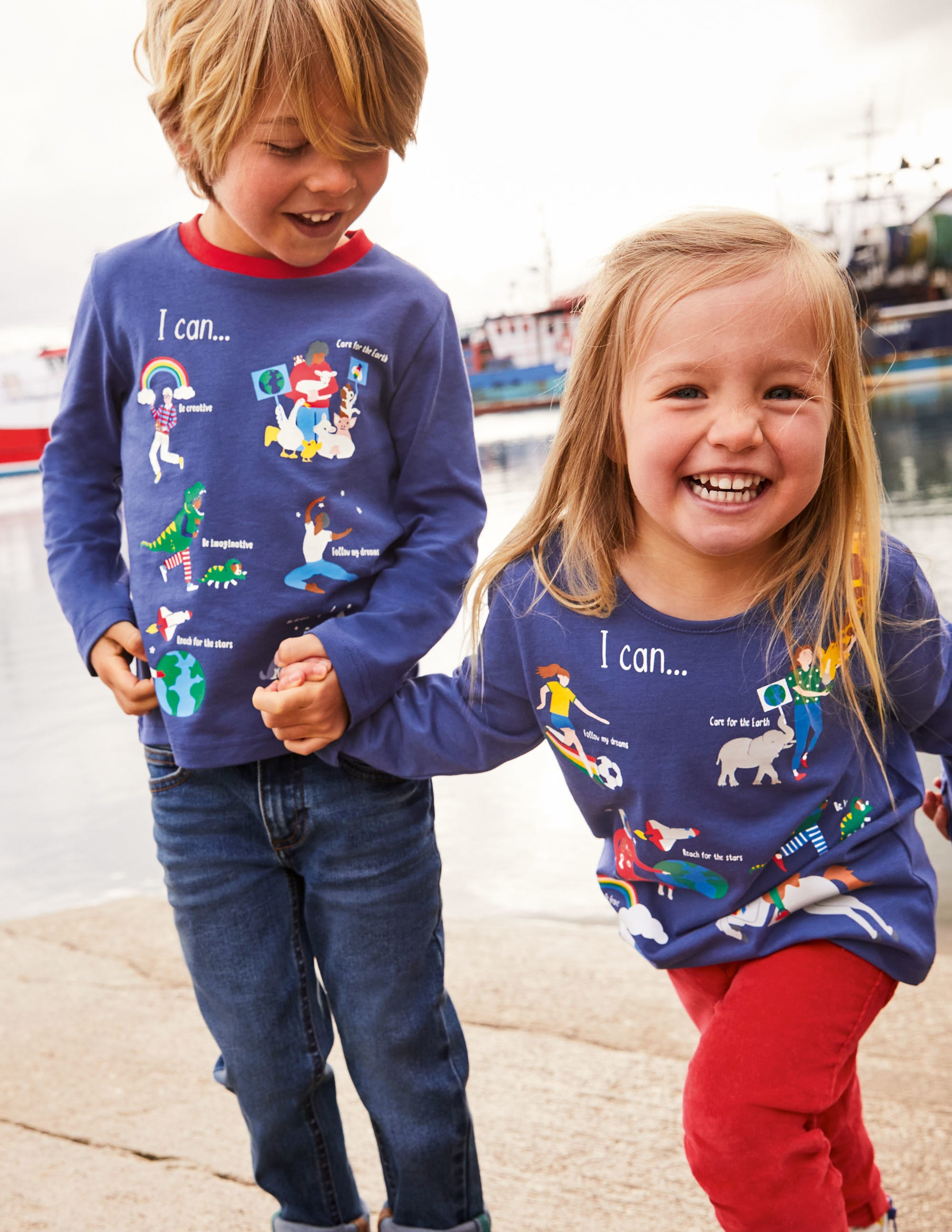 Boden Fun Facts T-shirt - Starboard Blue When I Grow Up