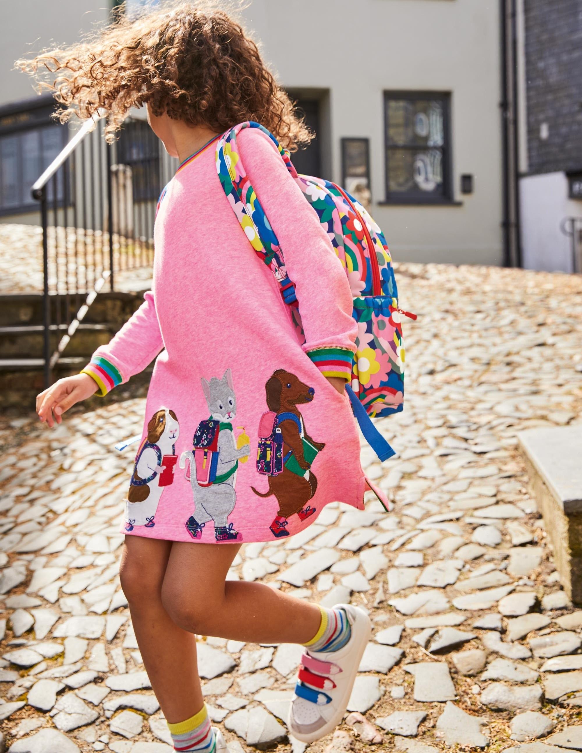 Boden Applique Sweatshirt Dress - Bright Petal Pink Friends