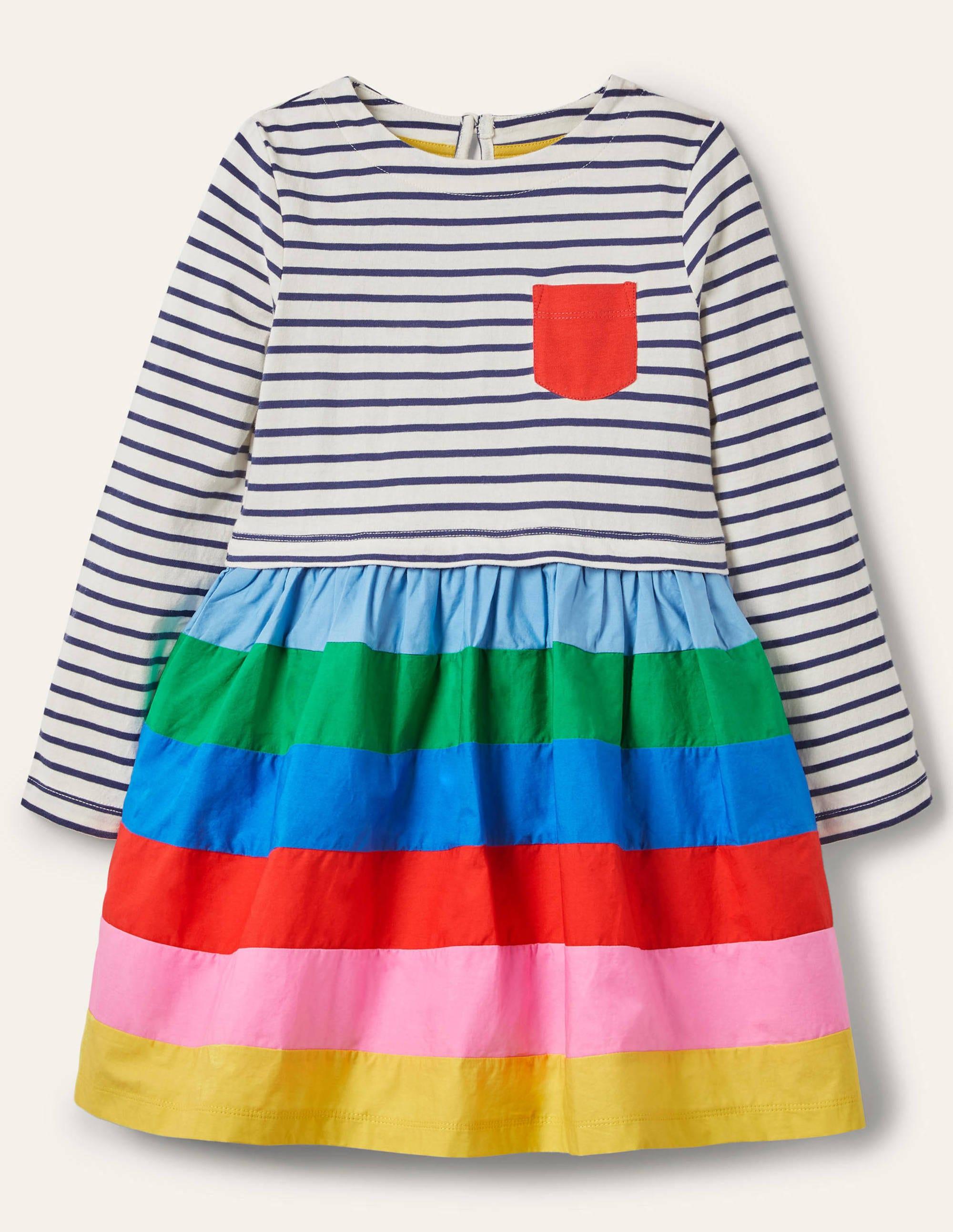 Boden Hotchpotch Dress - Ivory/ Starboard Blue Rainbow