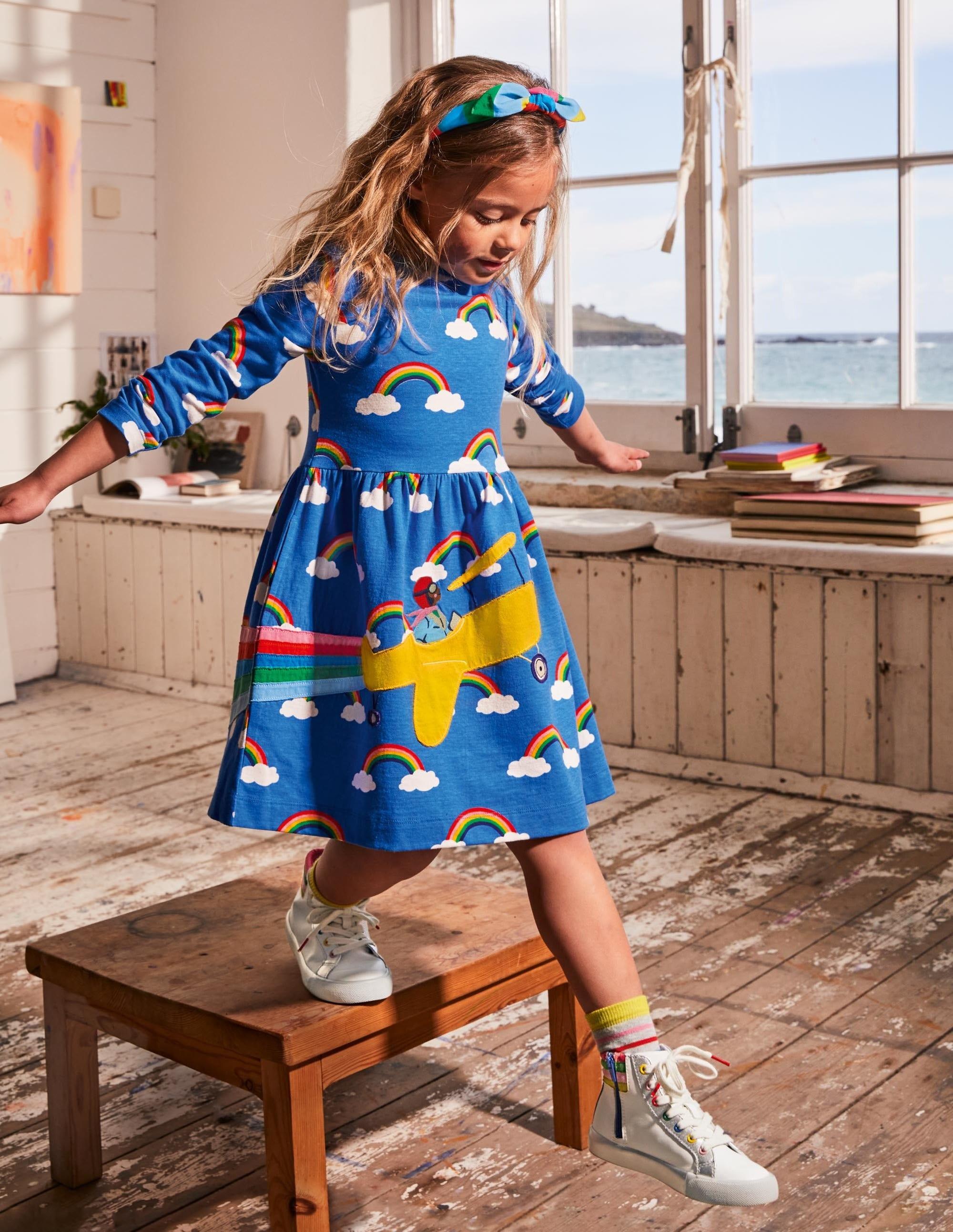 Boden Fun Applique Dress - Moroccan Blue Rainbow Cloud