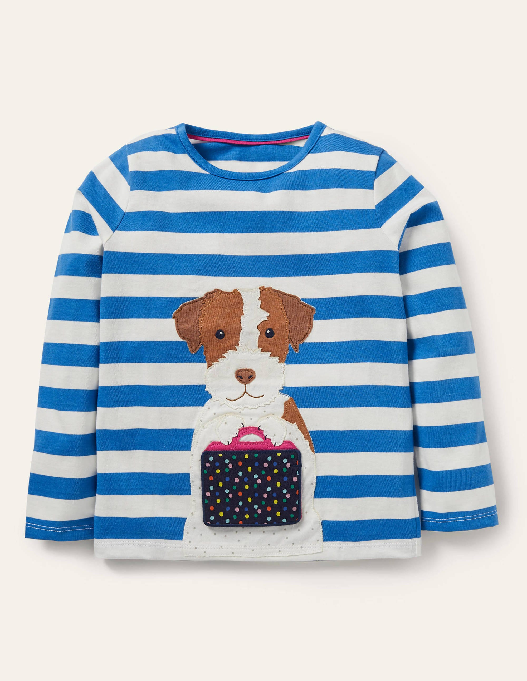 Boden Lift-the-flap T-shirt - Ivory/ Moroccan Blue Sprout