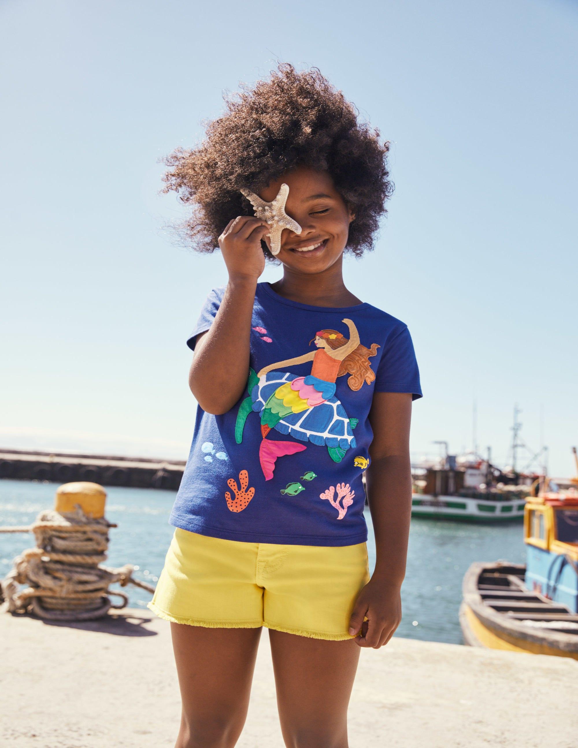 Boden Big Applique T-shirt - Starboard Blue Mermaid