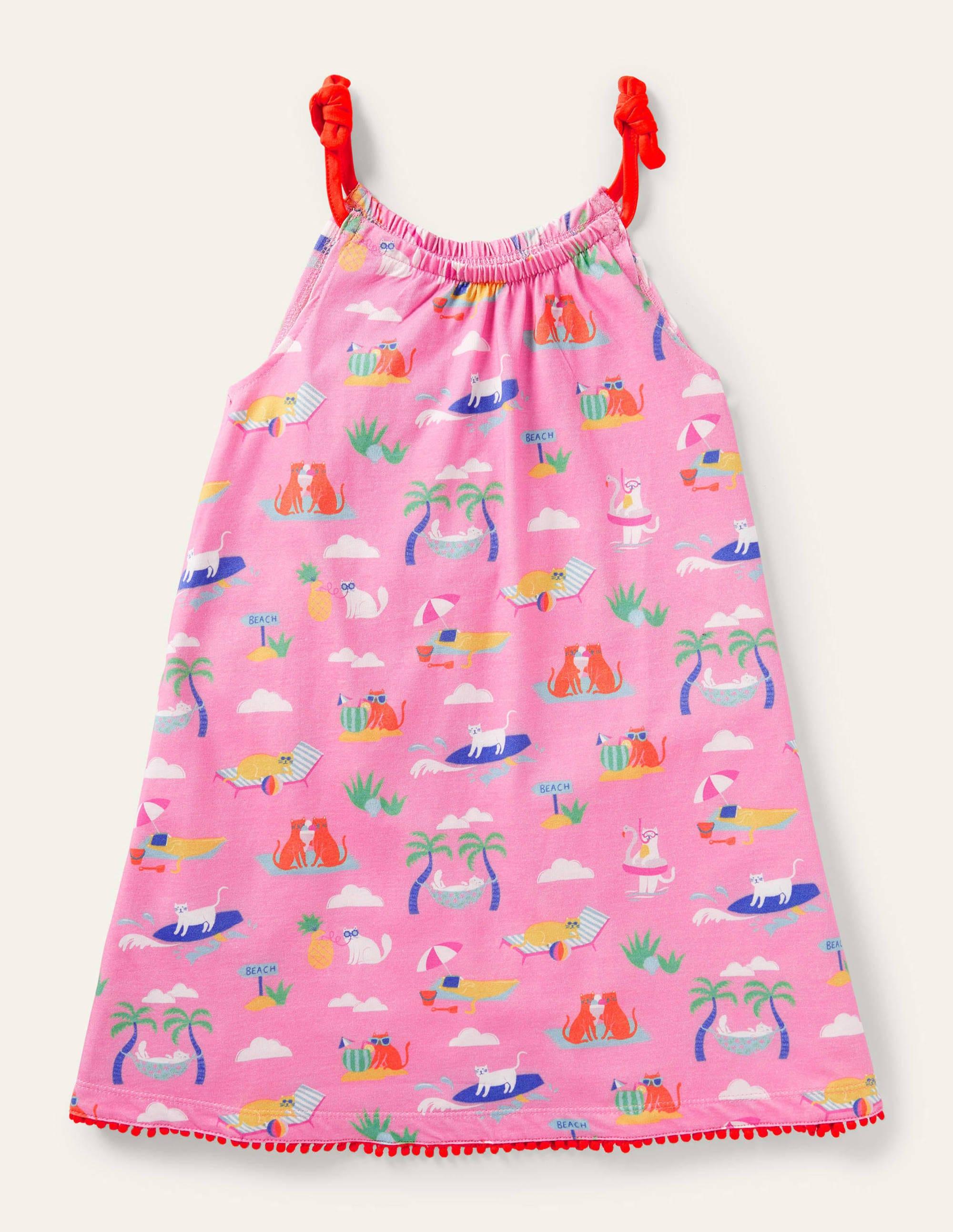 Boden Jersey Sun Dress - Plum Blossom Pink Holiday Cats