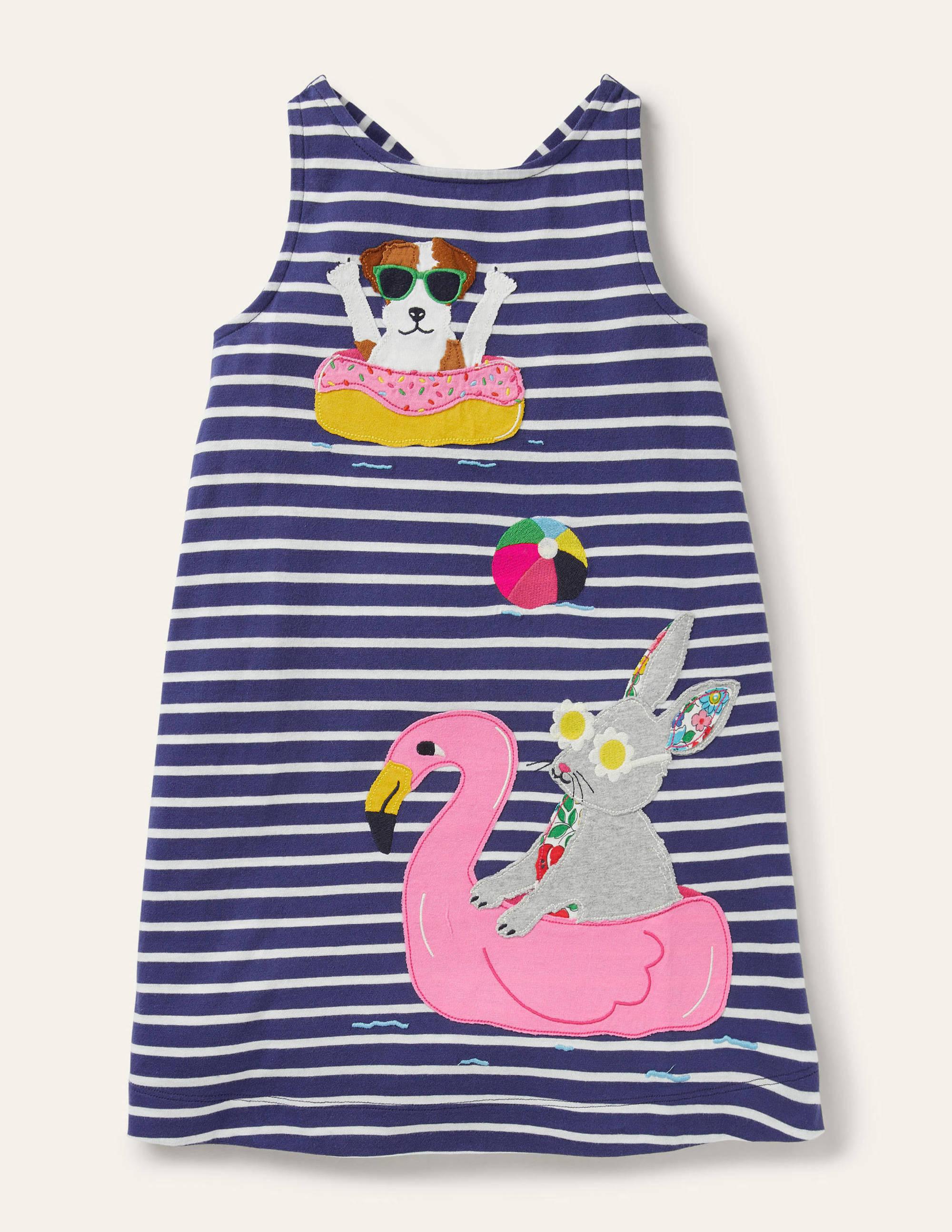 Boden Applique Jersey Dress - Starboard Blue/ Ivory Bunny