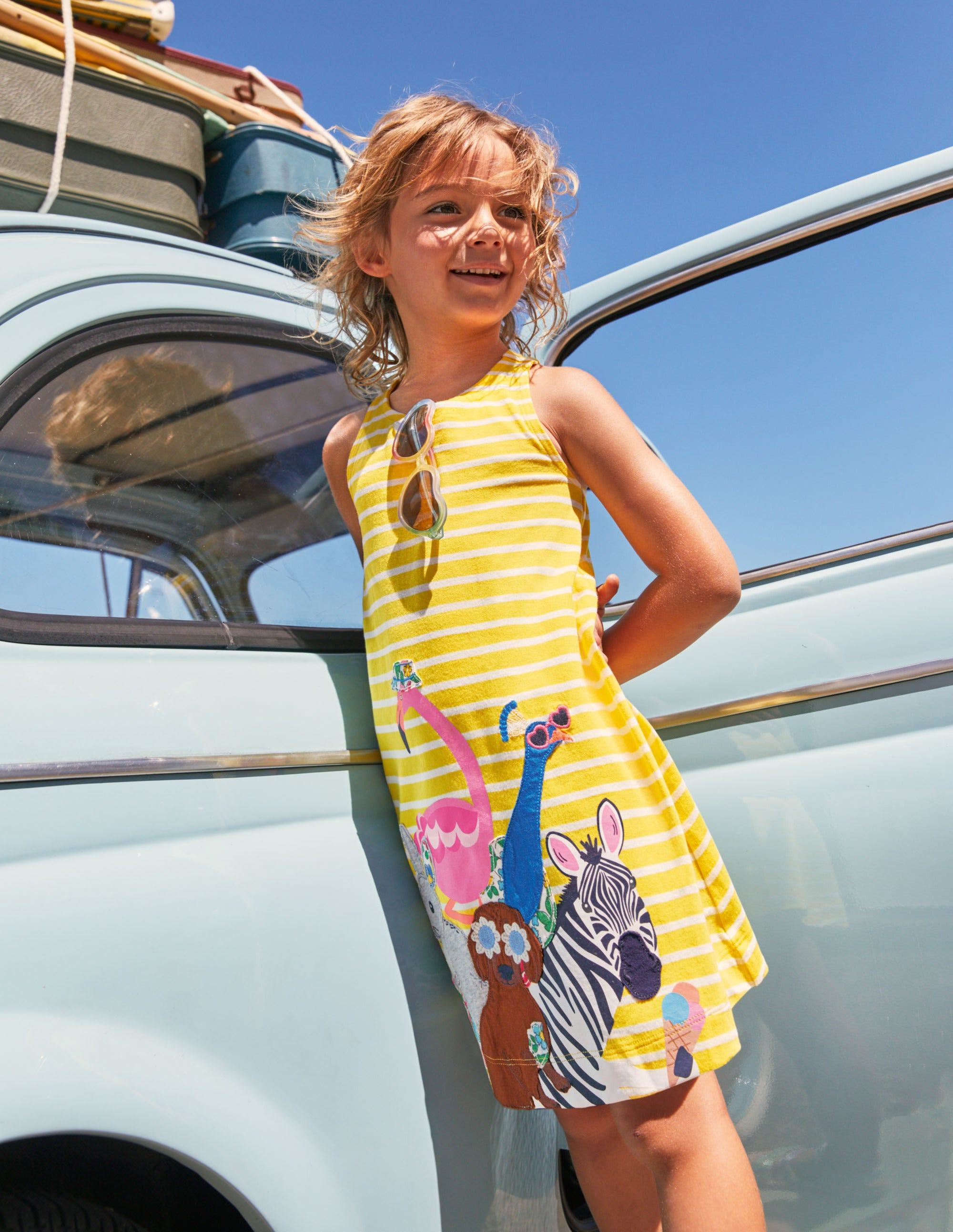 Boden Applique Jersey Dress - Daffodil/ Ivory Animals