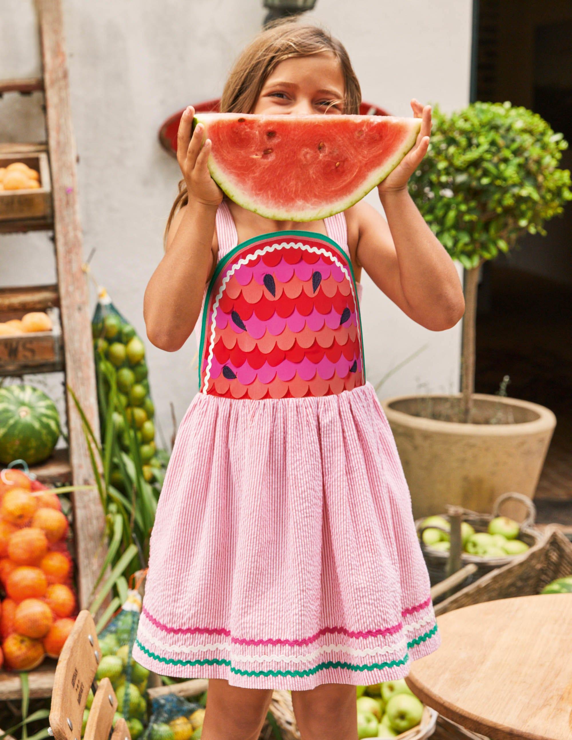 Boden Watermelon Embellished Dress - Strawberry Tart Red Ticking