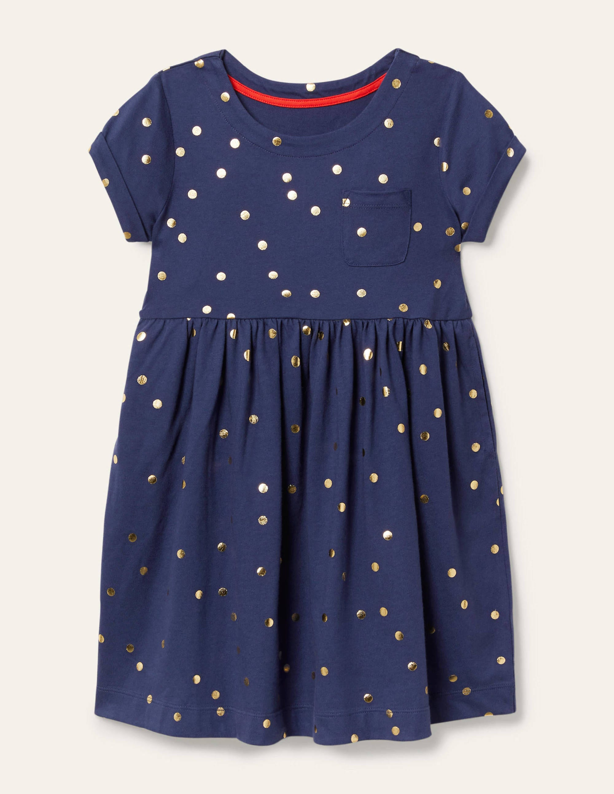 Boden Fun Jersey Dress - Starboard Blue Gold Spot