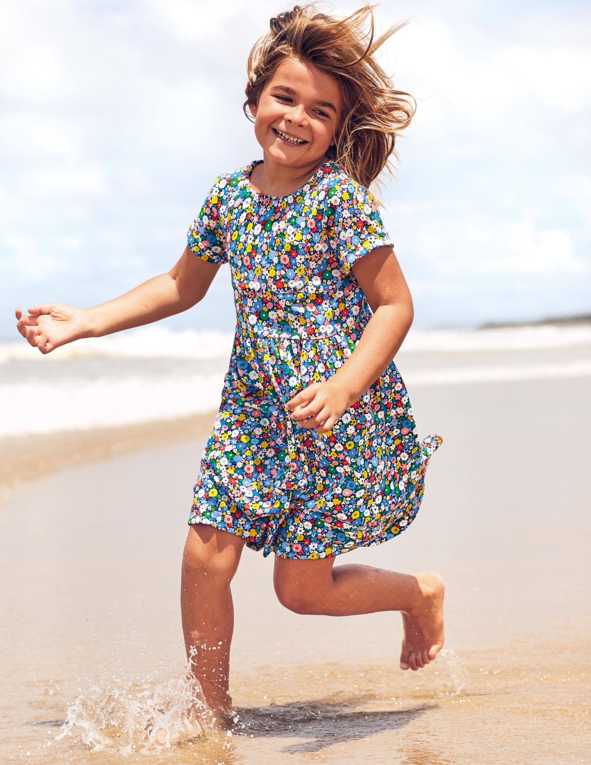 Boden Fun Jersey Dress - Elizabethan Blue Flowerpatch