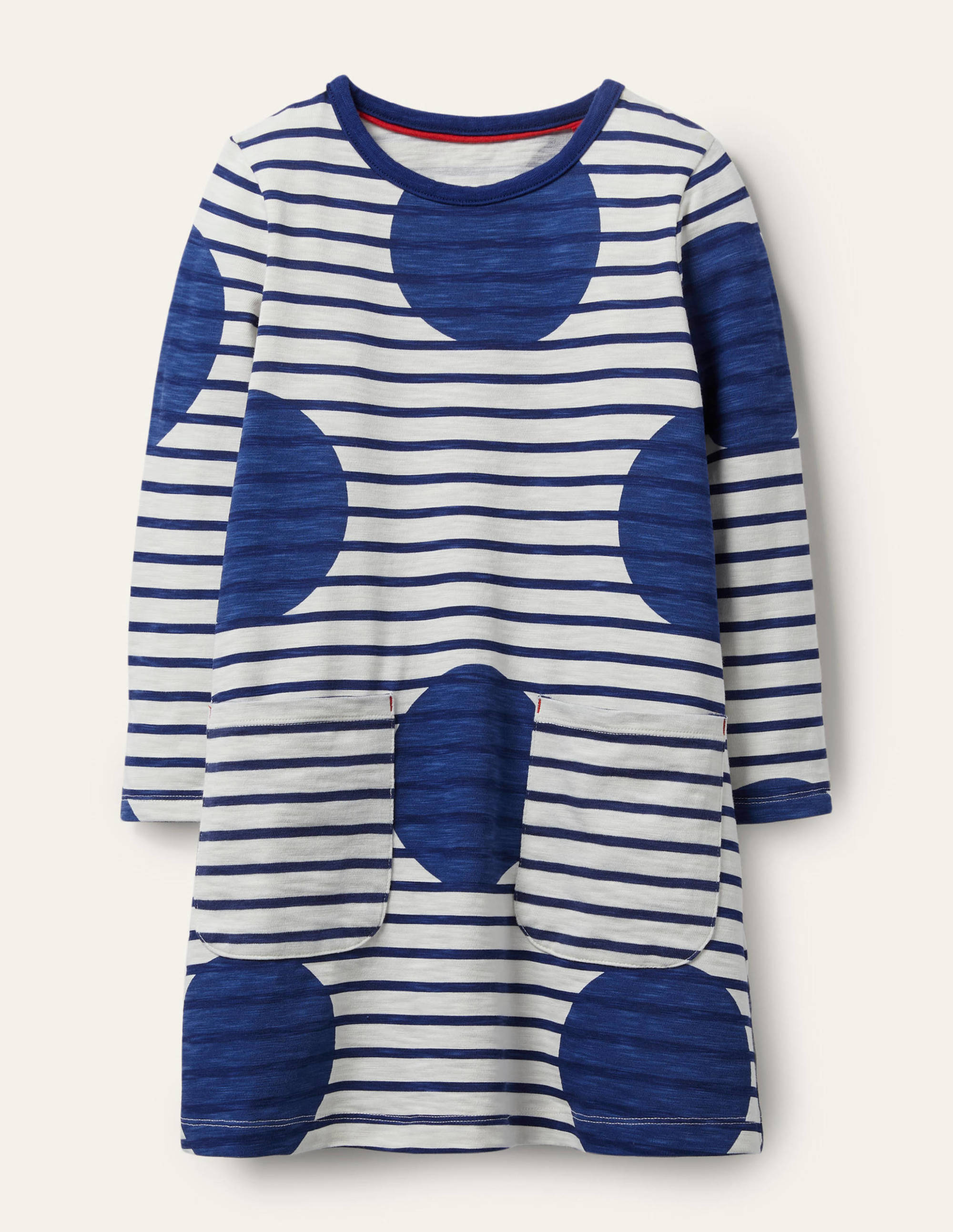 Boden Fun Pocket Jersey Dress - Starboard Blue Jumbo Spot