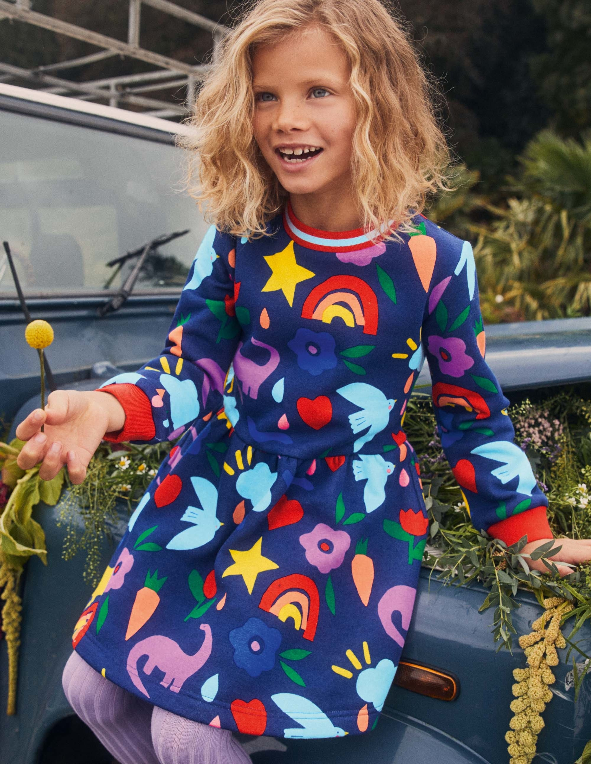 Boden Printed Sweatshirt Dress - Starboard Blue Happy Dino