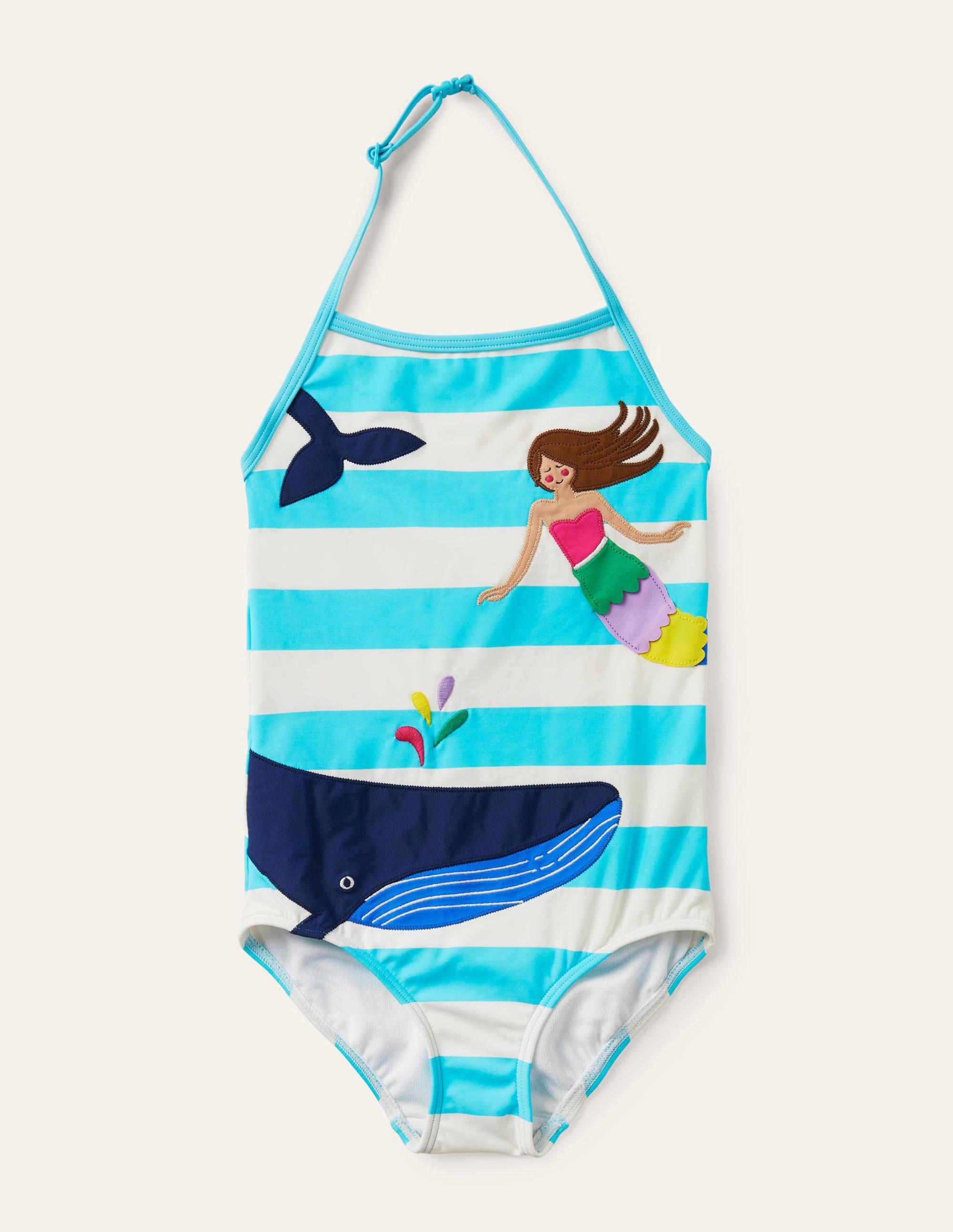 Boden Applique Swimsuit - Light Blue/ Ivory Mermaid