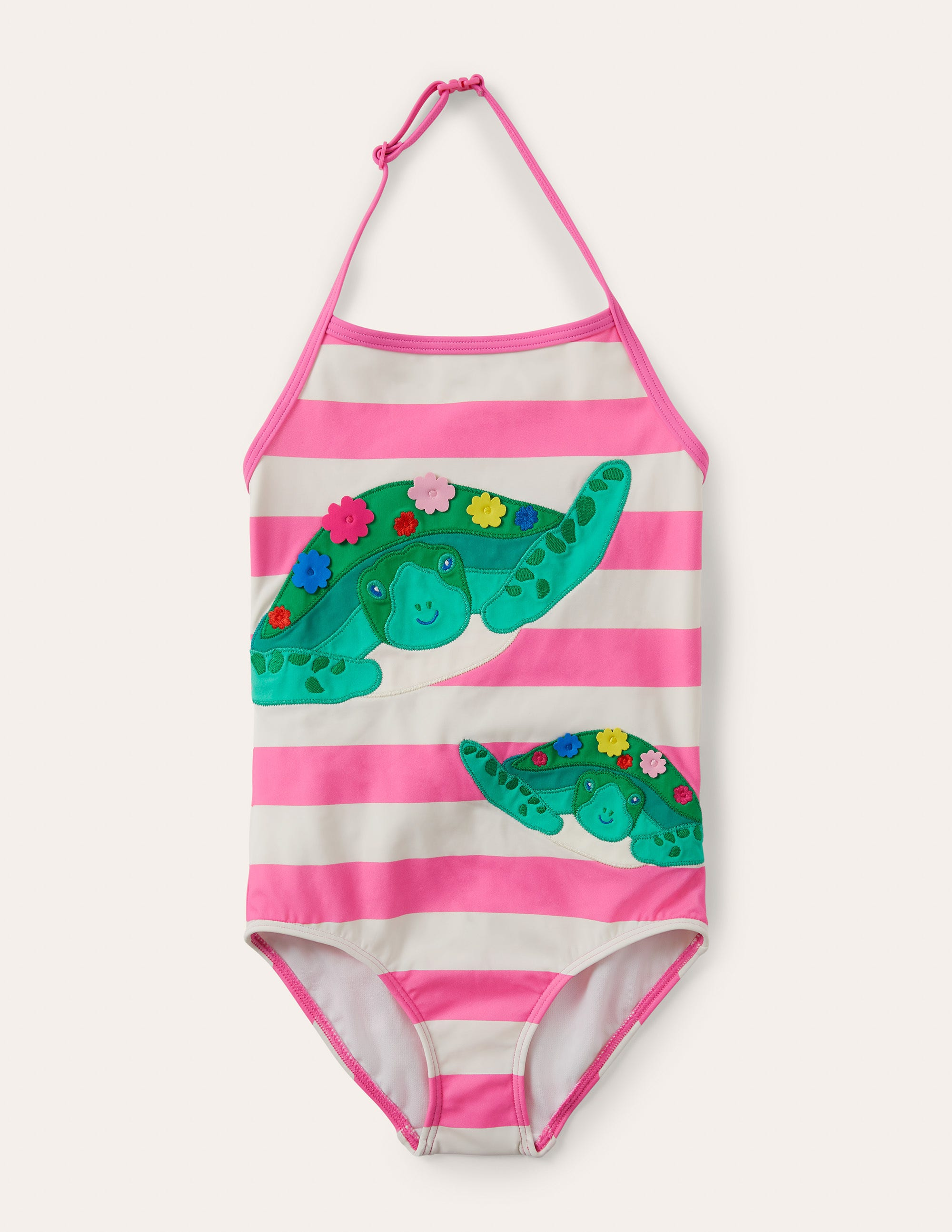 Boden Applique Swimsuit - Sweet Pink/ Ivory Turtles