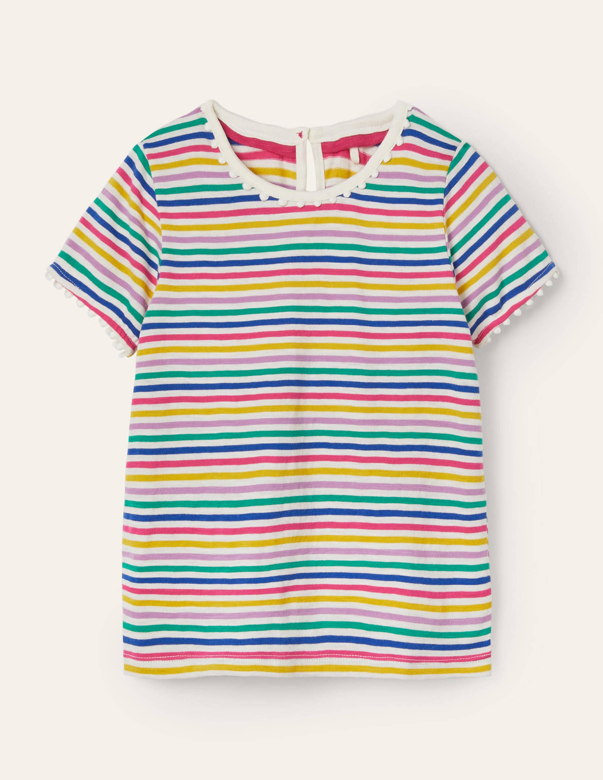Boden Charlie Pom Jersey T-shirt - Multi Stripe