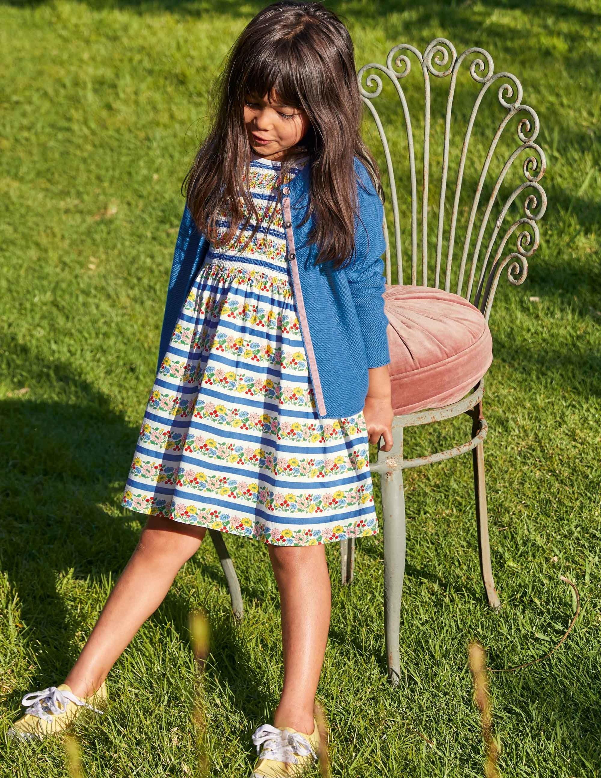 Boden Smocked Woven Dress - Multi Floral Stripe