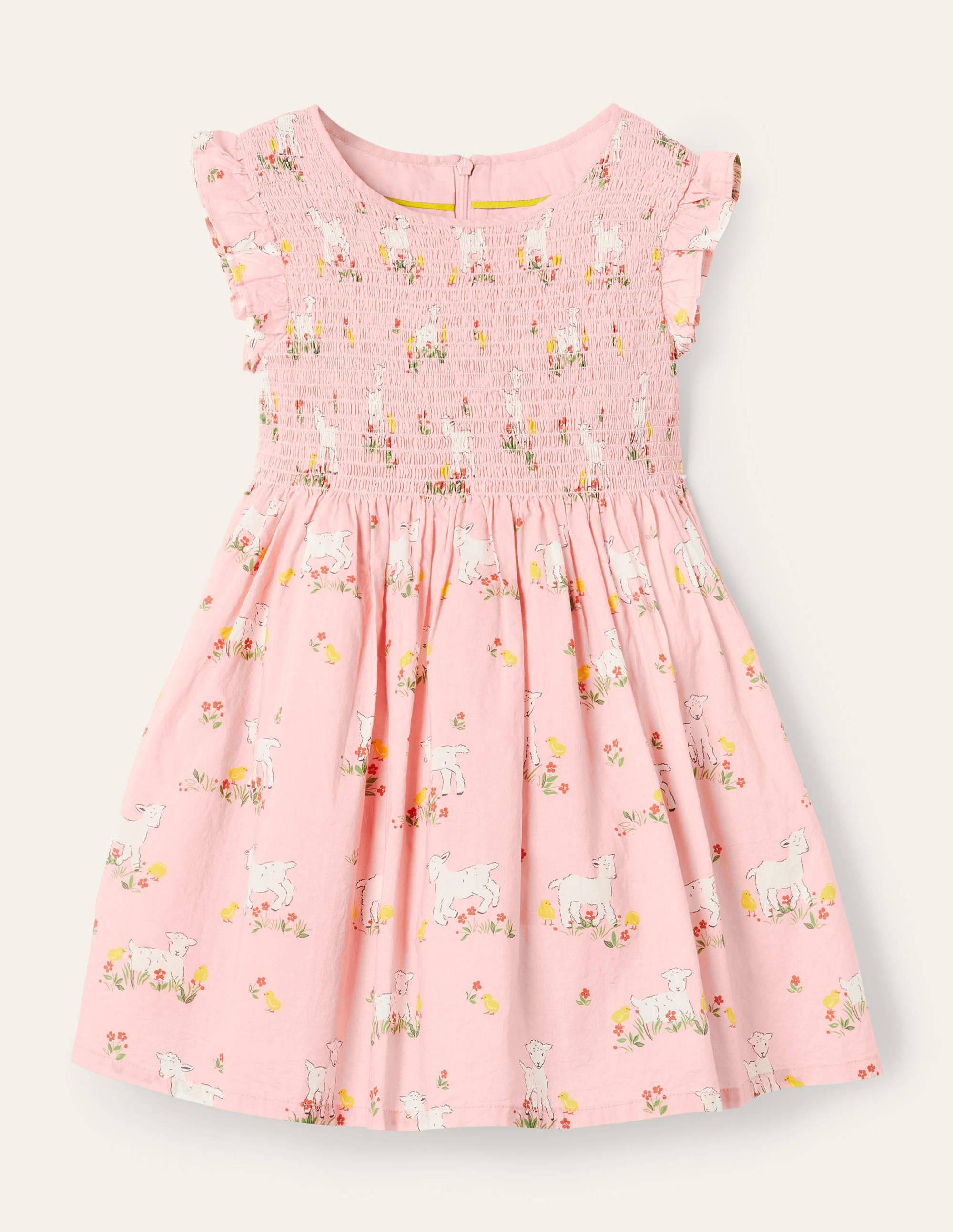 Boden Smocked Woven Dress - Boto Pink Lambs