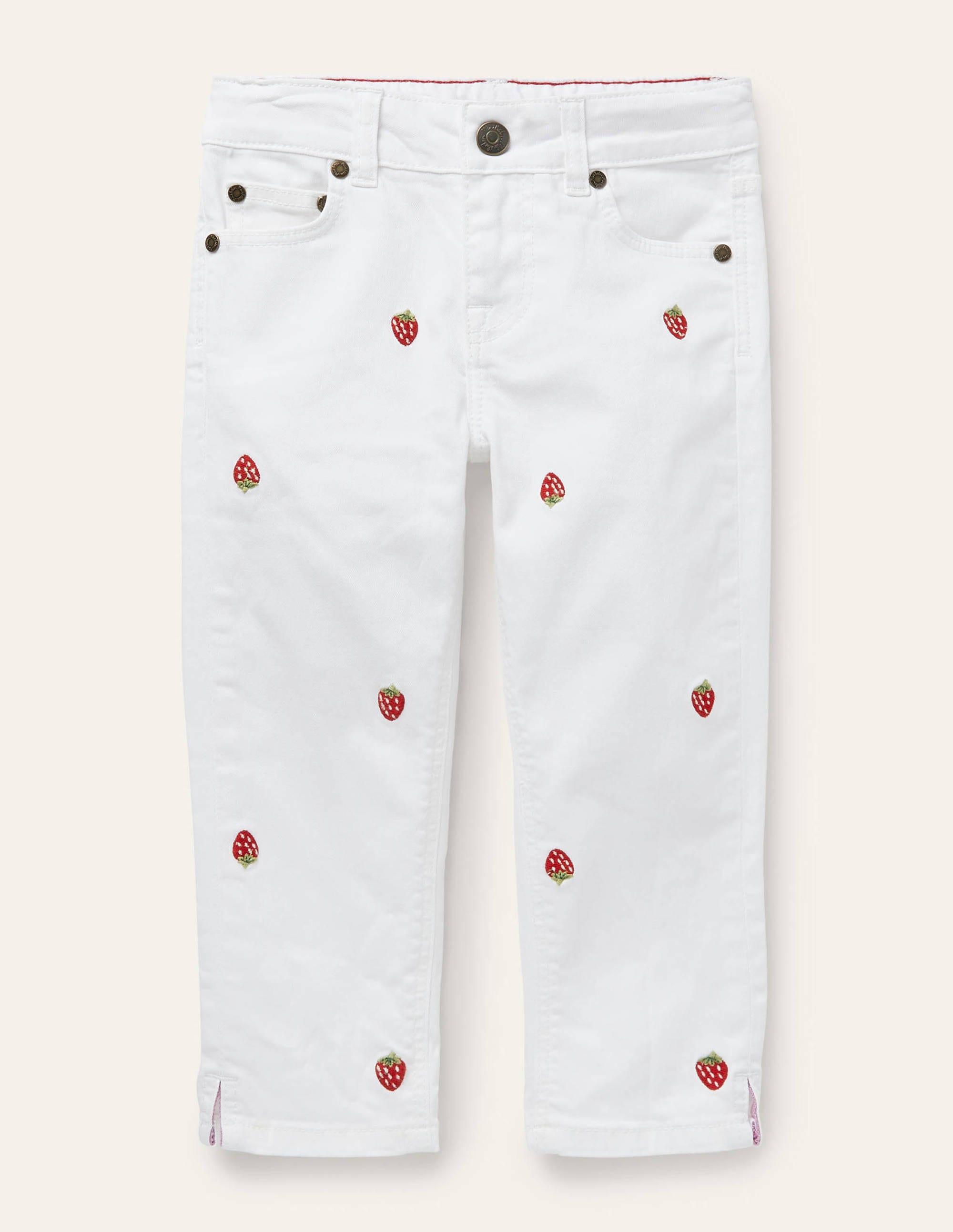 Boden Capri Pants - White Embroidered Strawberry