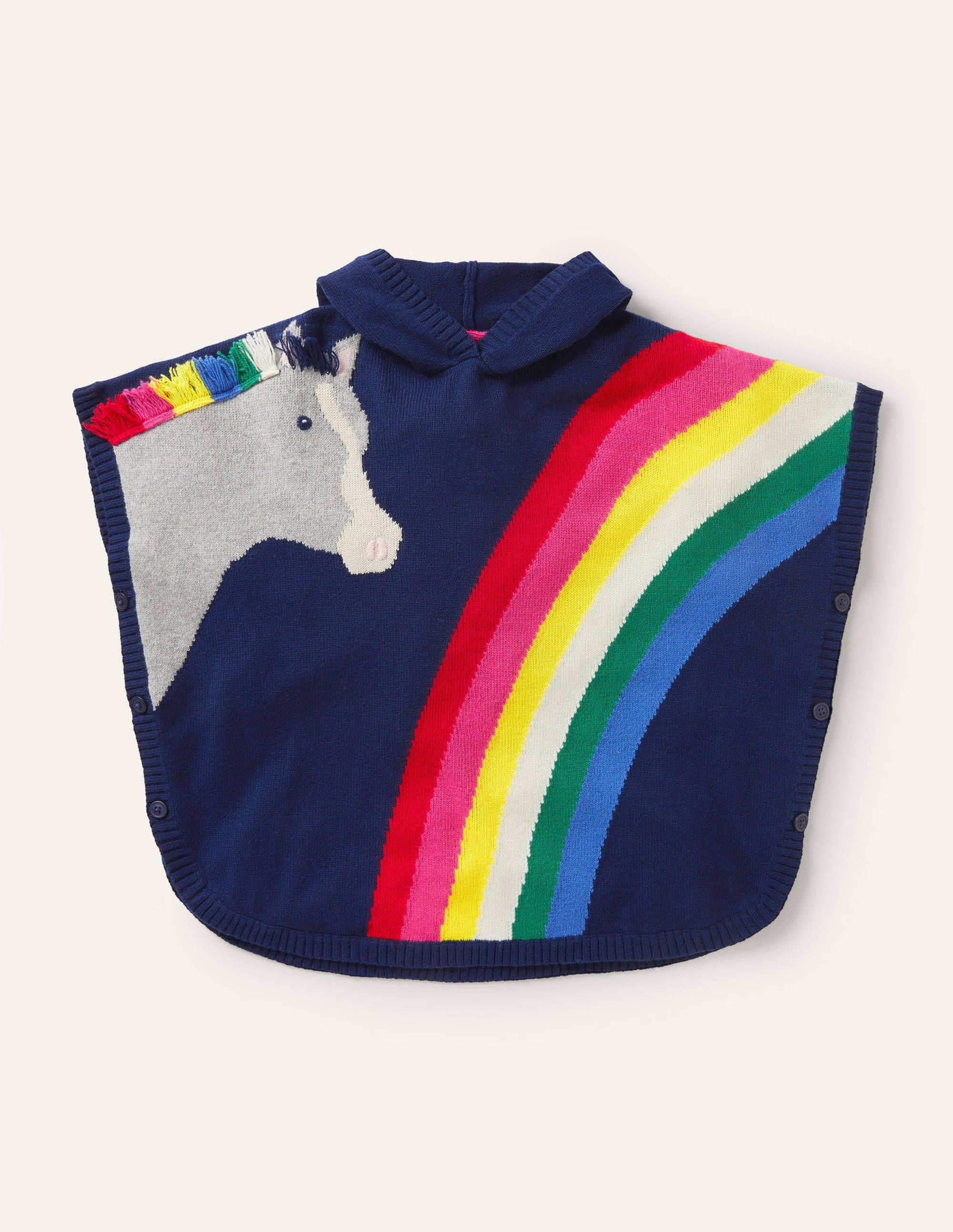 Poncho en maille à motif cheval BLU Boden Boden, Blue