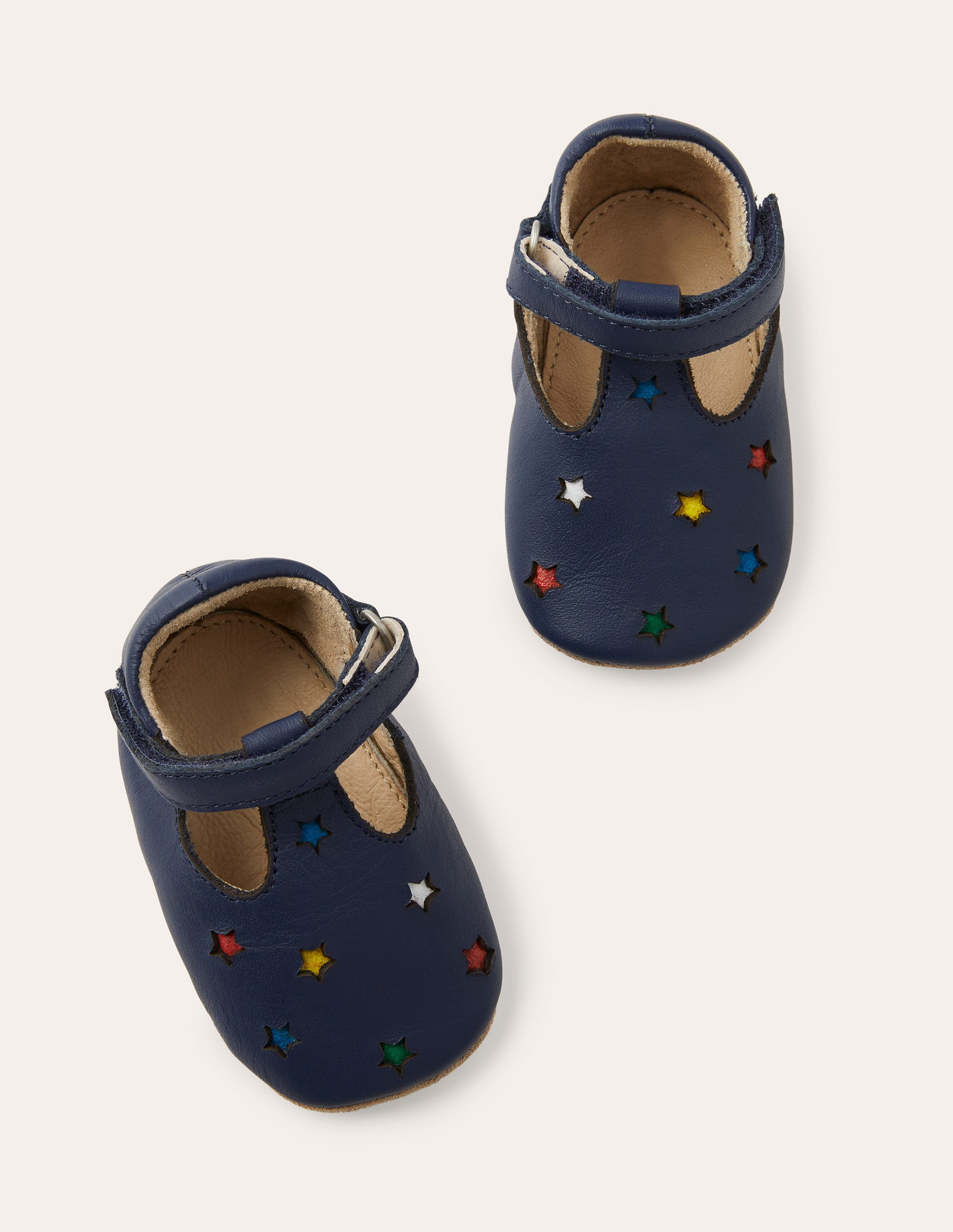 Boden Leather Baby Shoes - College Navy Stars