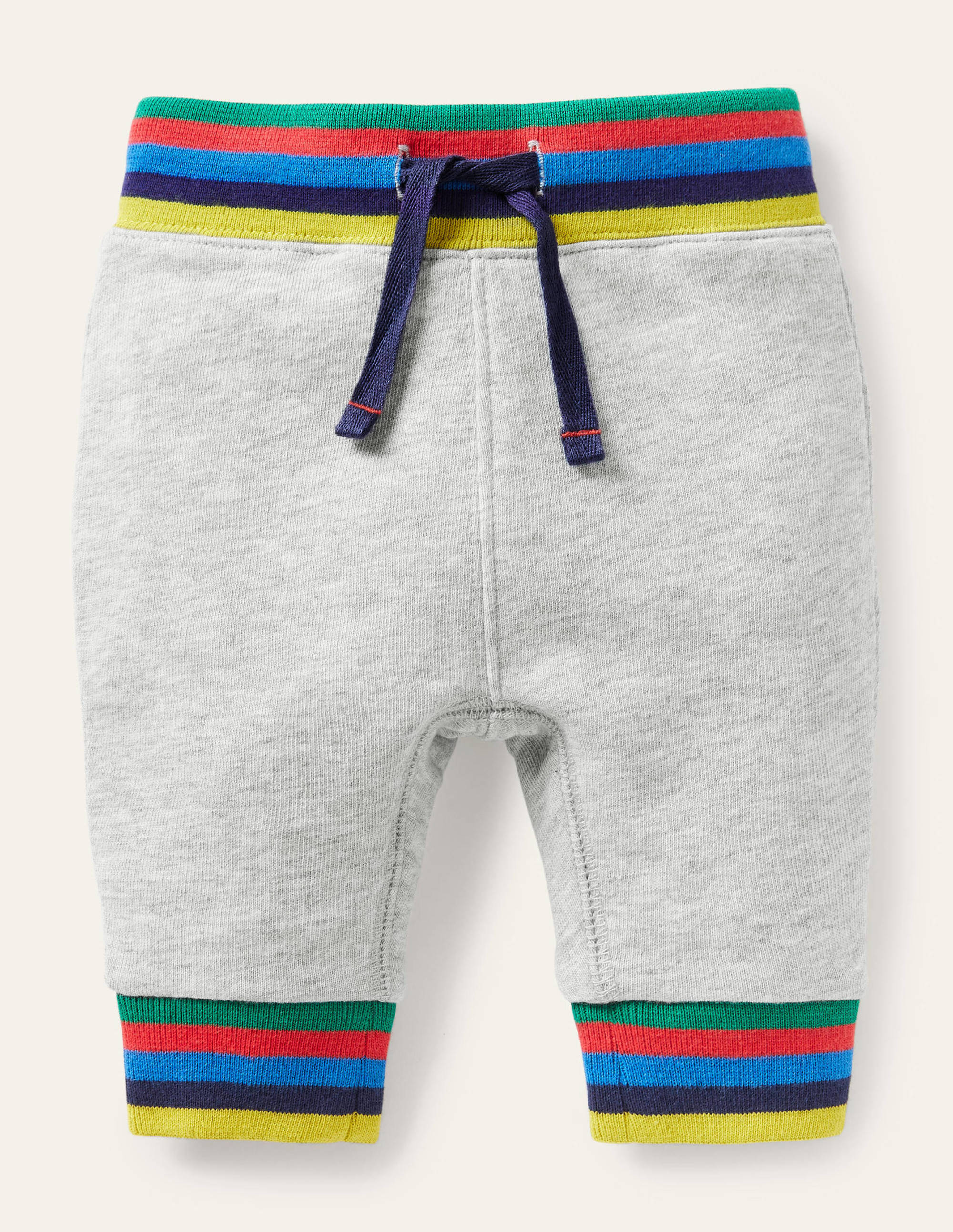 Boden Rainbow Rib Jersey Bottoms - Grey Marl