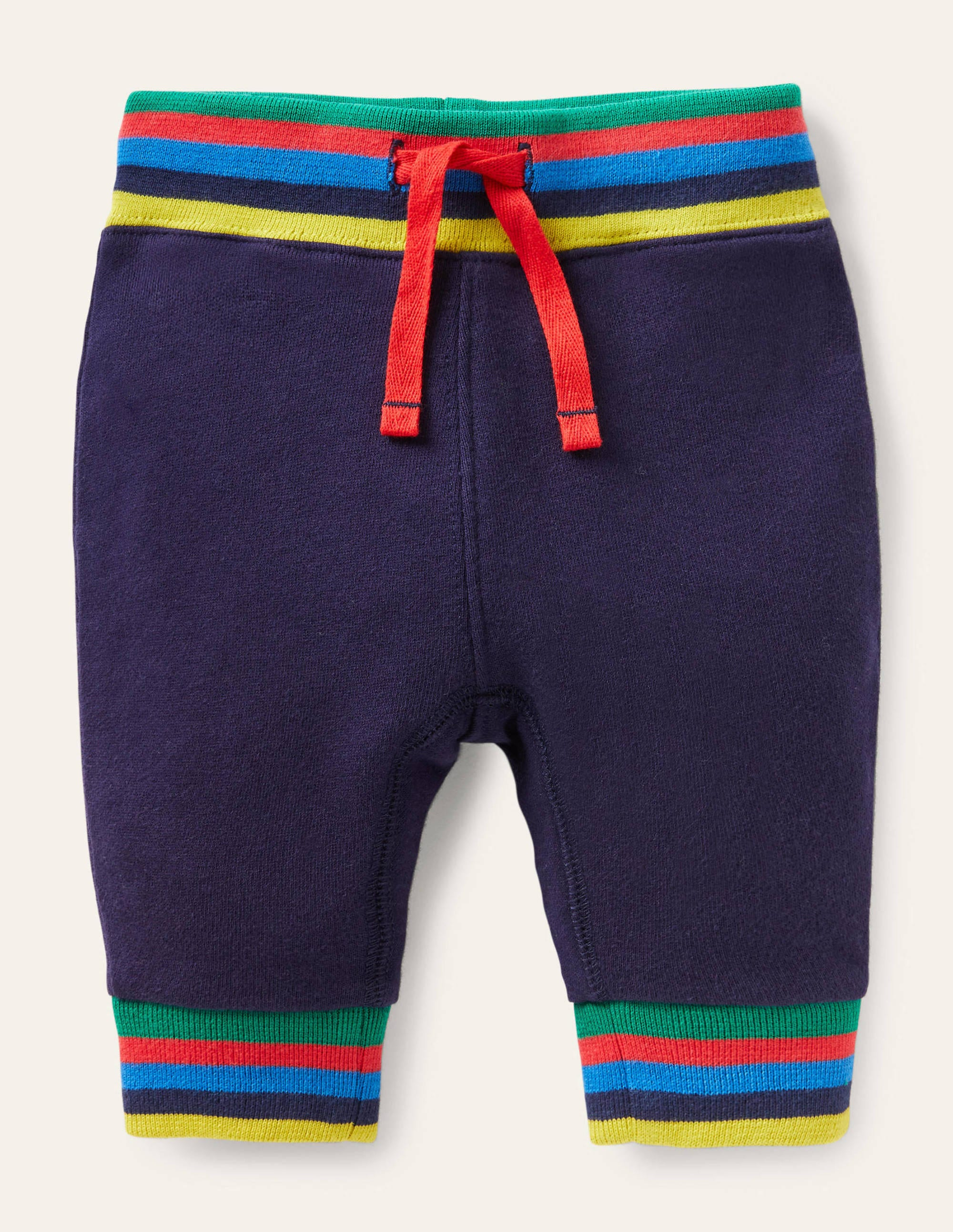 Boden Rainbow Rib Jersey Bottoms - Starboard Blue