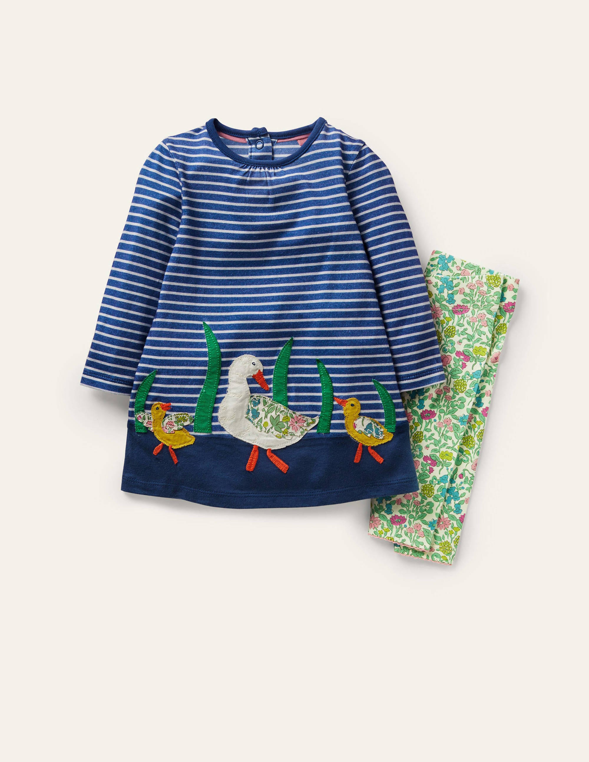 Boden Big Applique Dress Set - Venice Blue/Ivory Ducks