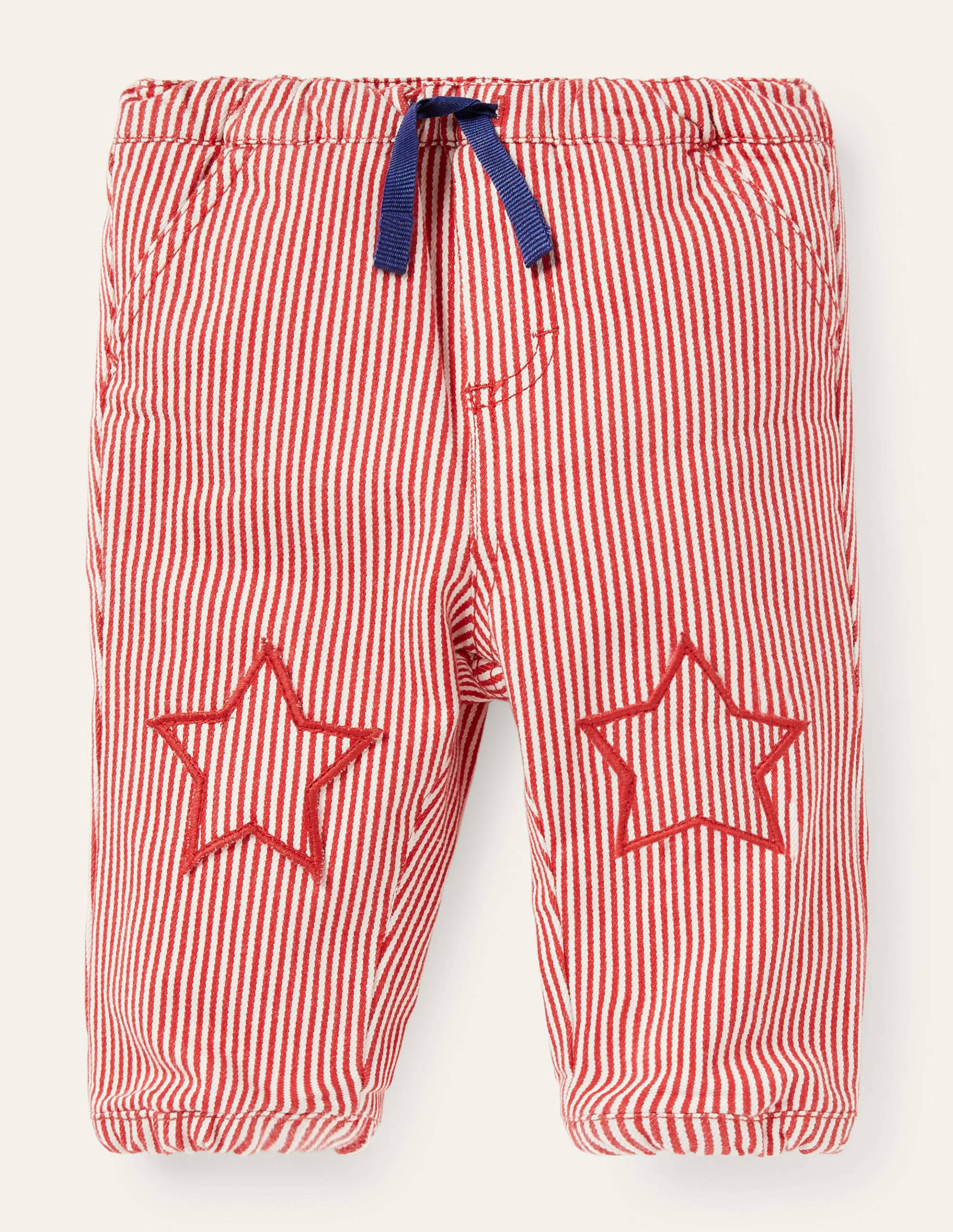 Boden Cosy Lined Bottoms - Cherry Tomato Ticking