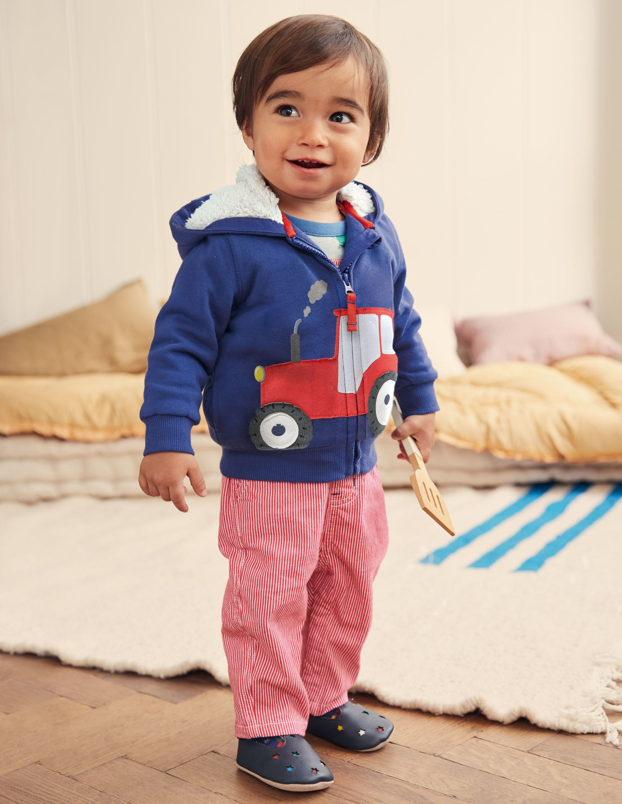 Boden Novelty Zip-up Hoodie - Starboard Blue Tractor
