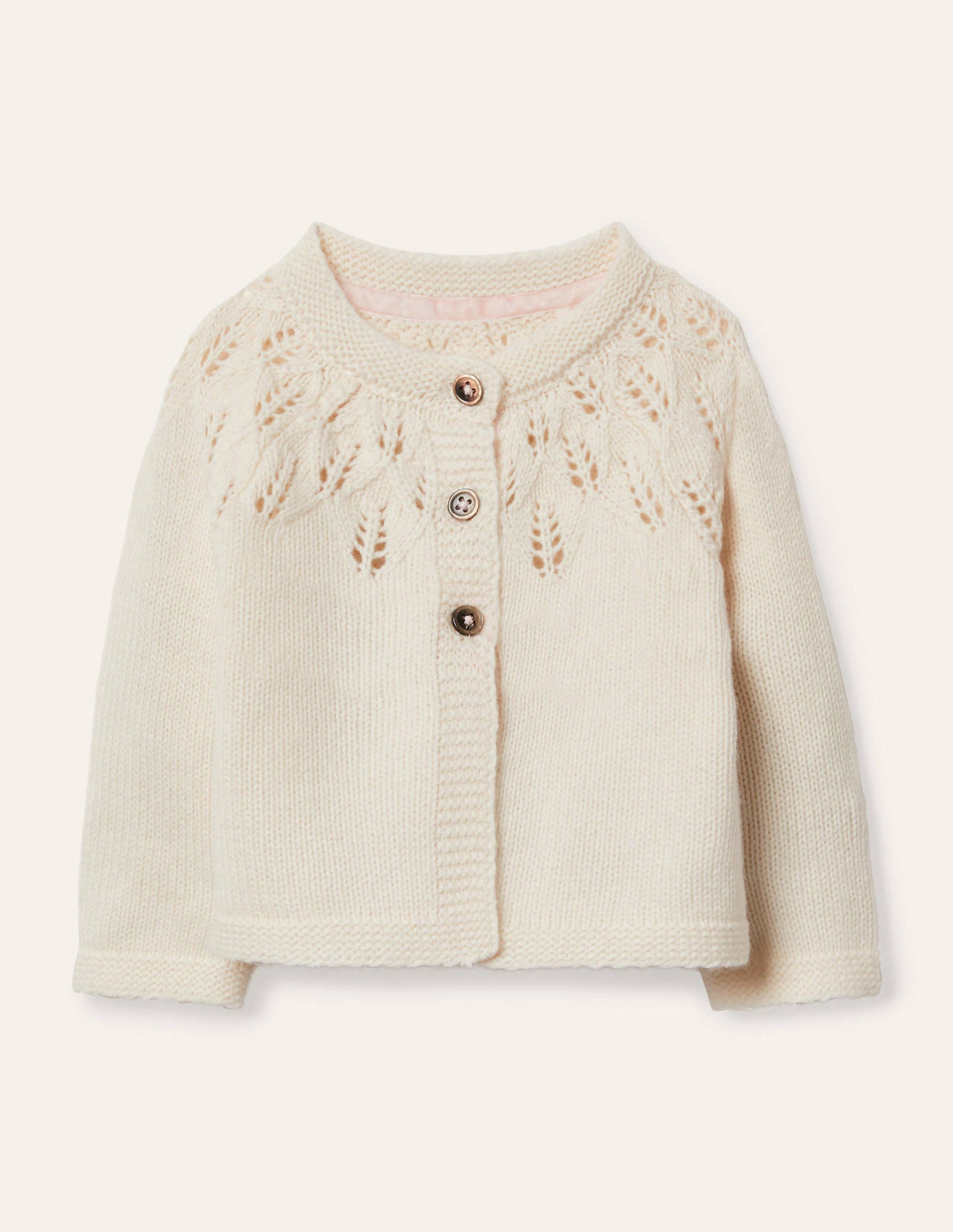 Boden Everyday Textured Cardigan - Ecru Marl