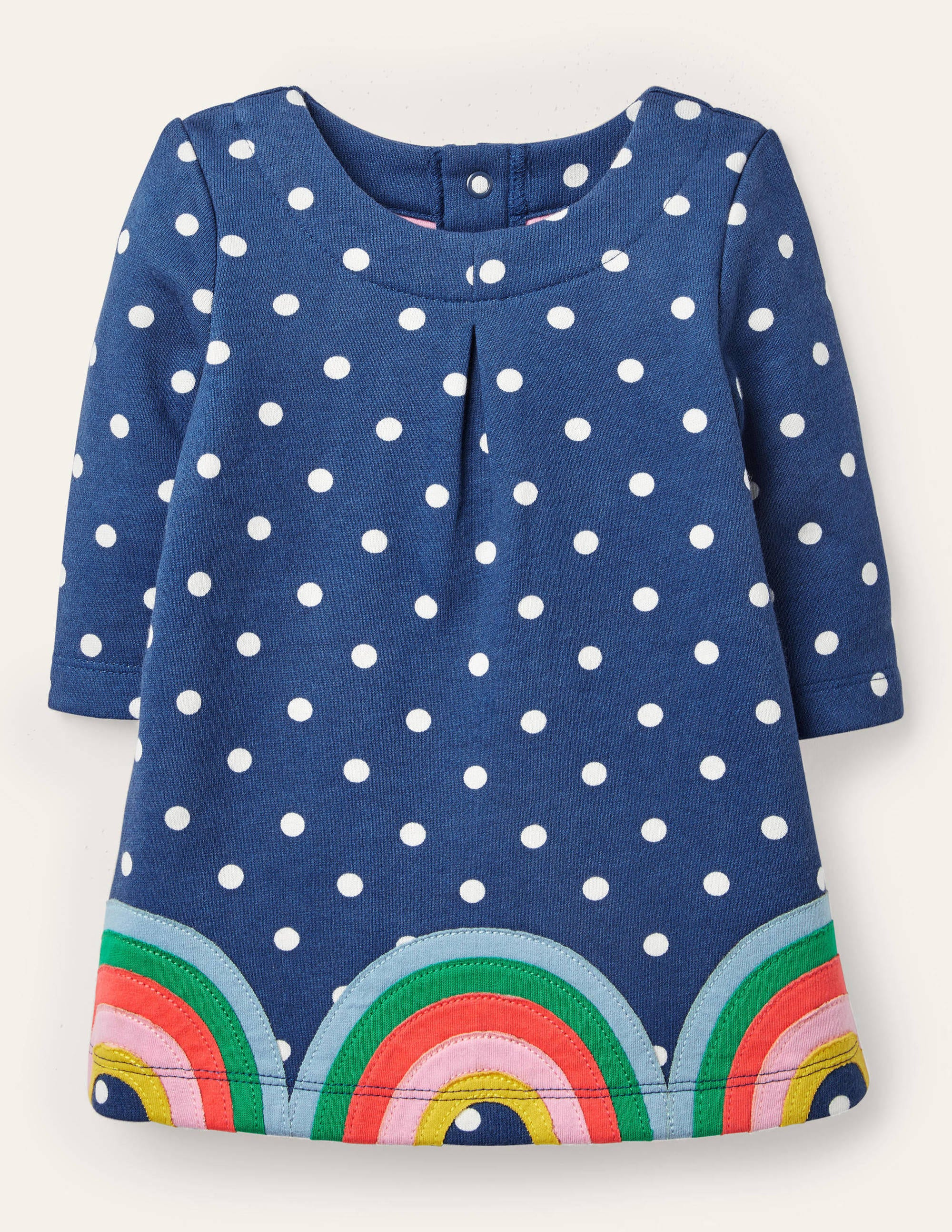 Boden Cosy Sweatshirt Dress - Elizabethan Blue Spot Rainbows