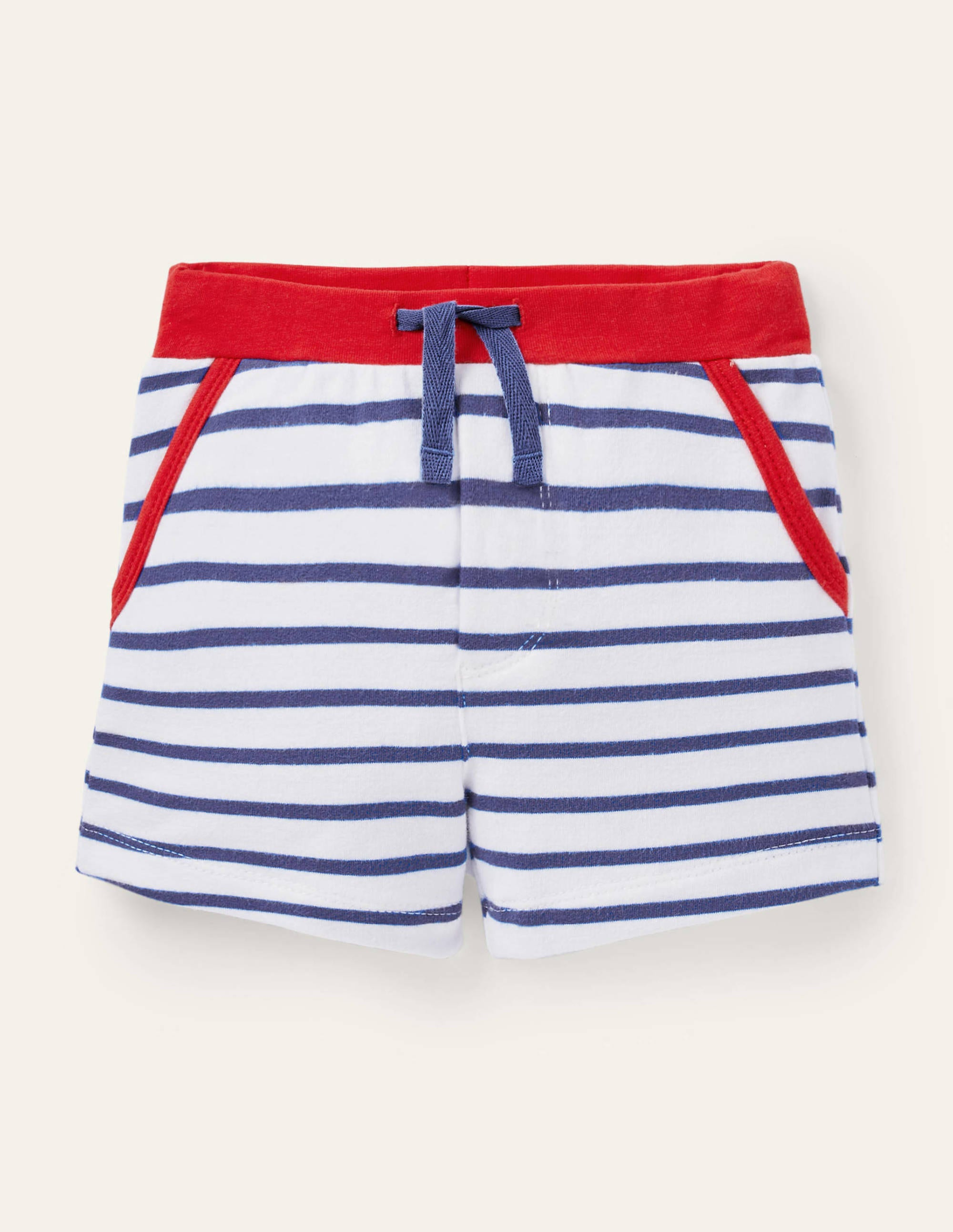 Boden Essential Jersey Shorts - Ivory/Starboard Blue