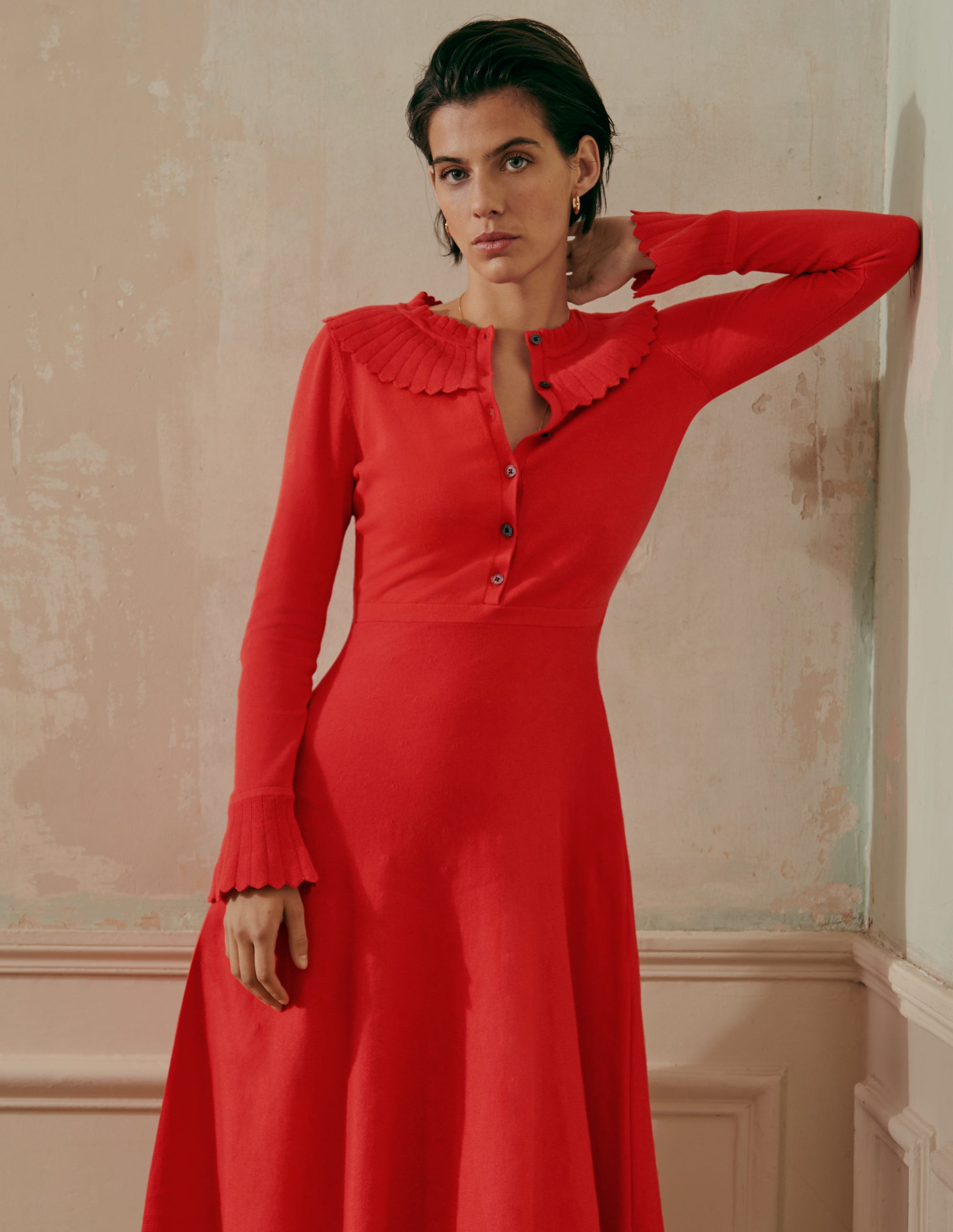 Boden Abercorn Knitted Dress - Cherry Red
