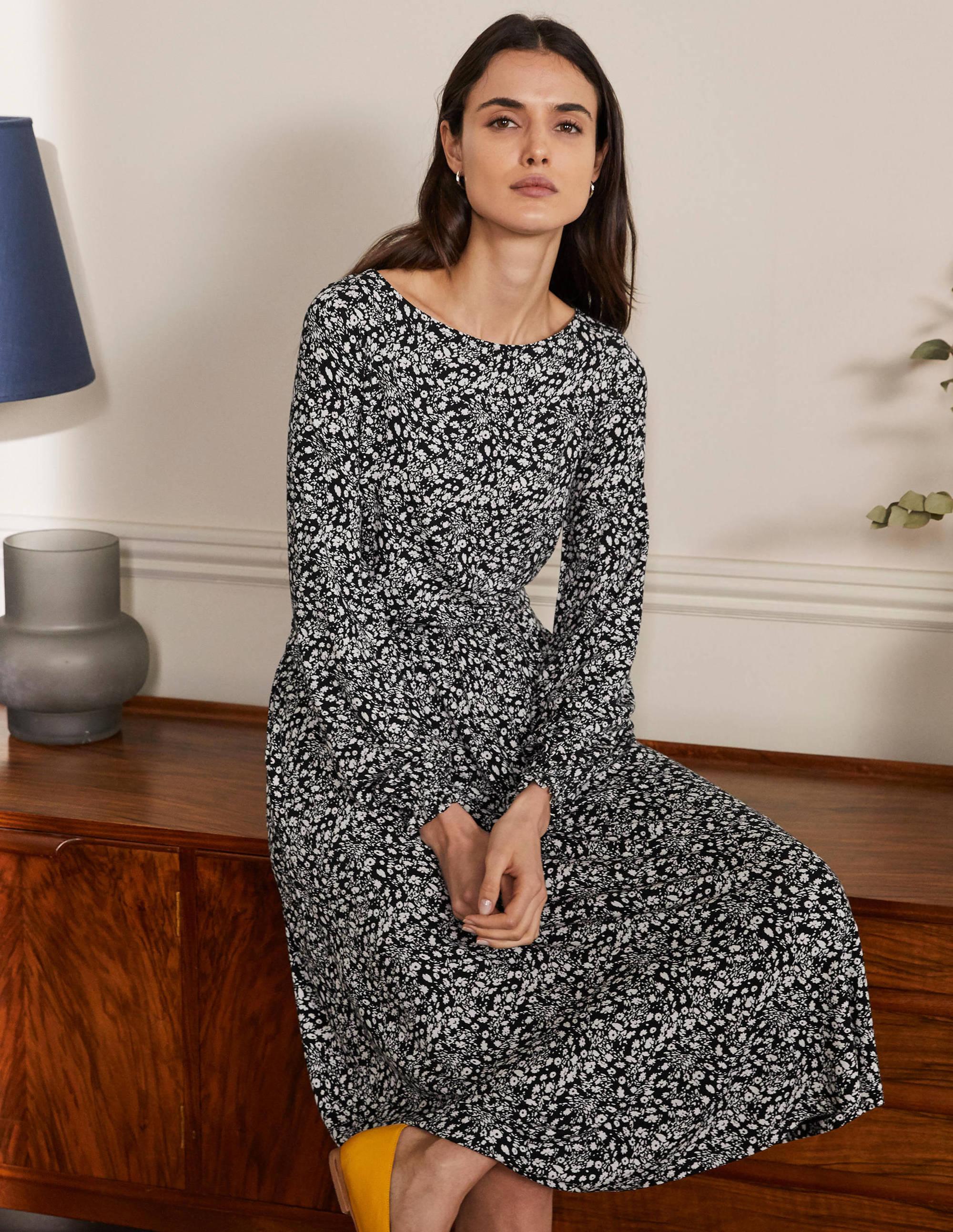 Boden Evelyn Jersey Midi Dress - Black, Floral Cascade