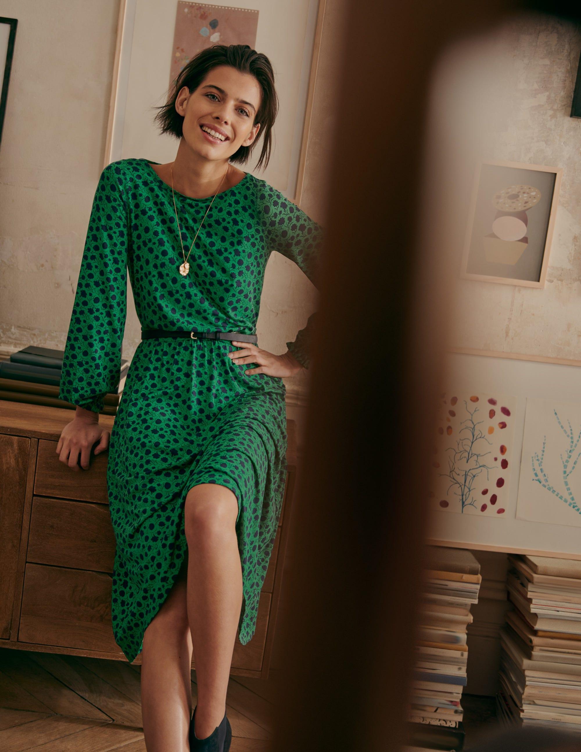 Boden Evelyn Jersey Midi Dress - Sapling, Leafy Bud